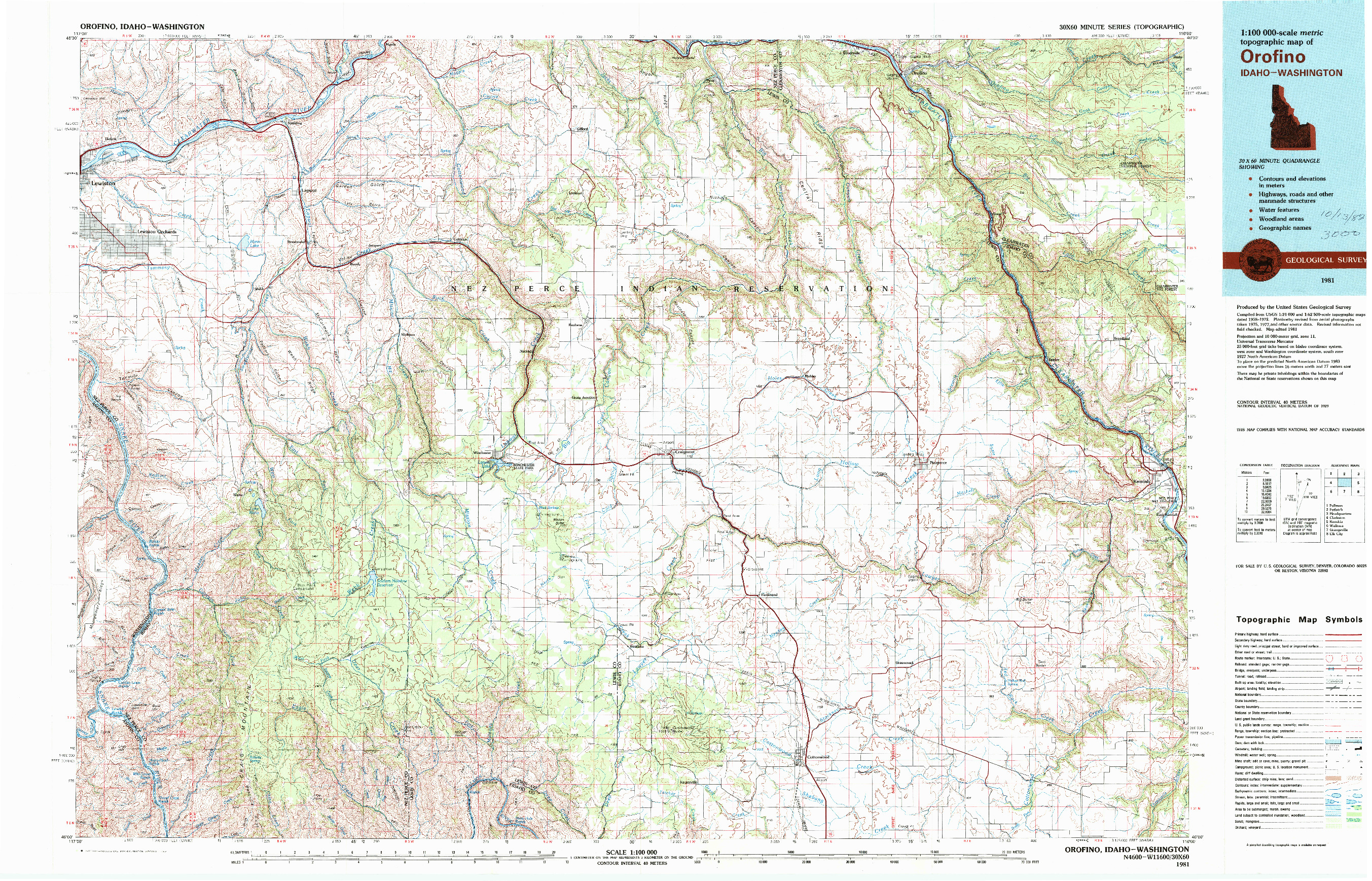 USGS 1:100000-SCALE QUADRANGLE FOR OROFINO, ID 1981