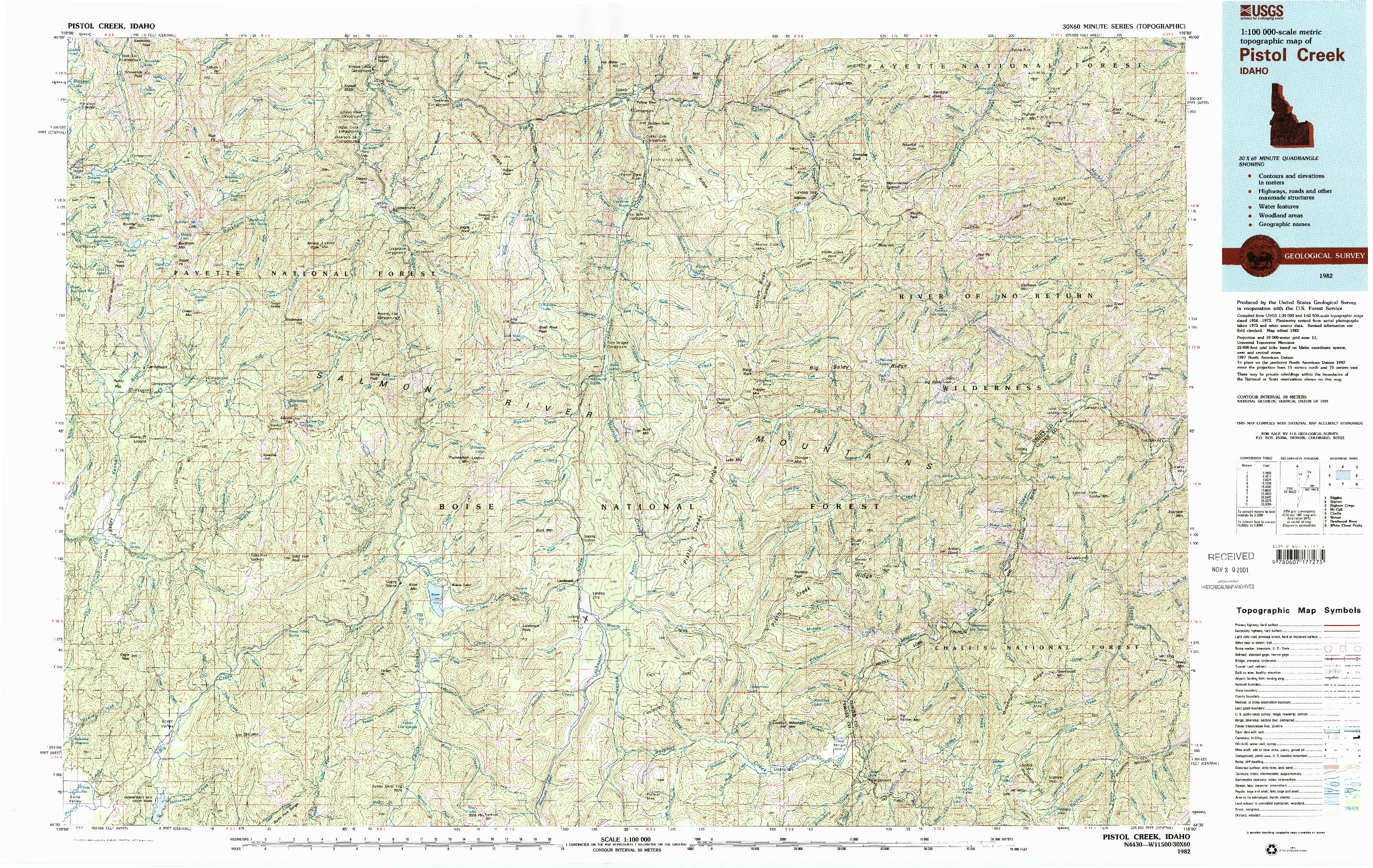 USGS 1:100000-SCALE QUADRANGLE FOR PISTOL CREEK, ID 1982