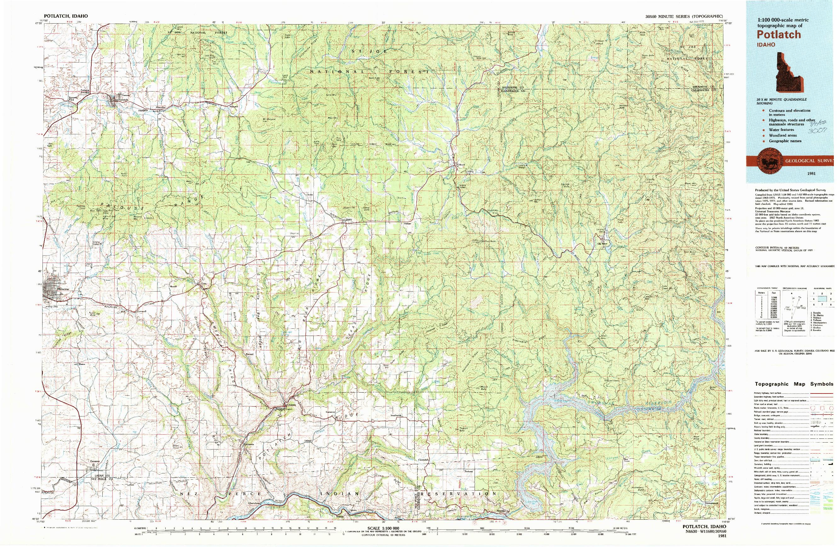 USGS 1:100000-SCALE QUADRANGLE FOR POTLATCH, ID 1981