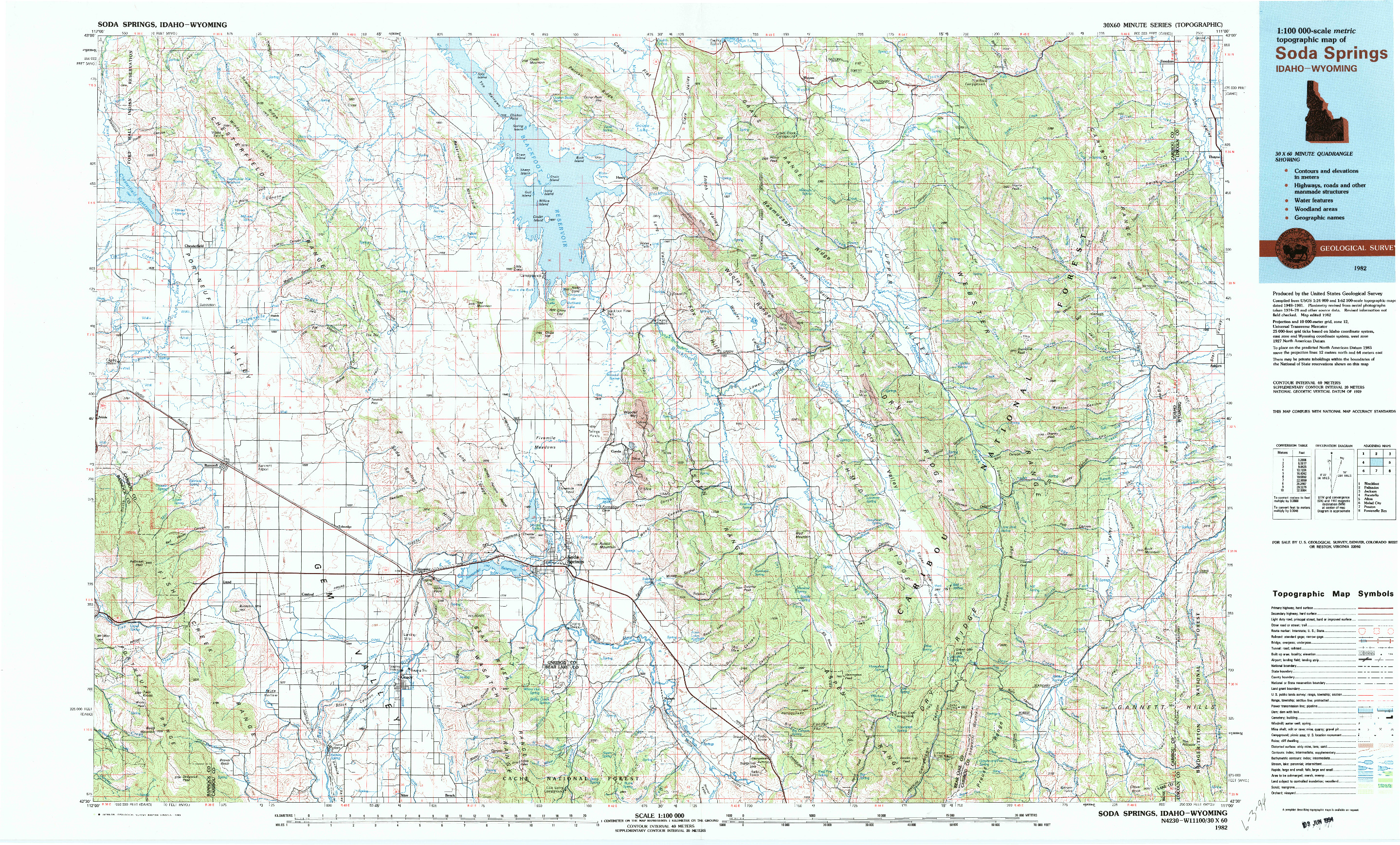 USGS 1:100000-SCALE QUADRANGLE FOR SODA SPRINGS, ID 1982