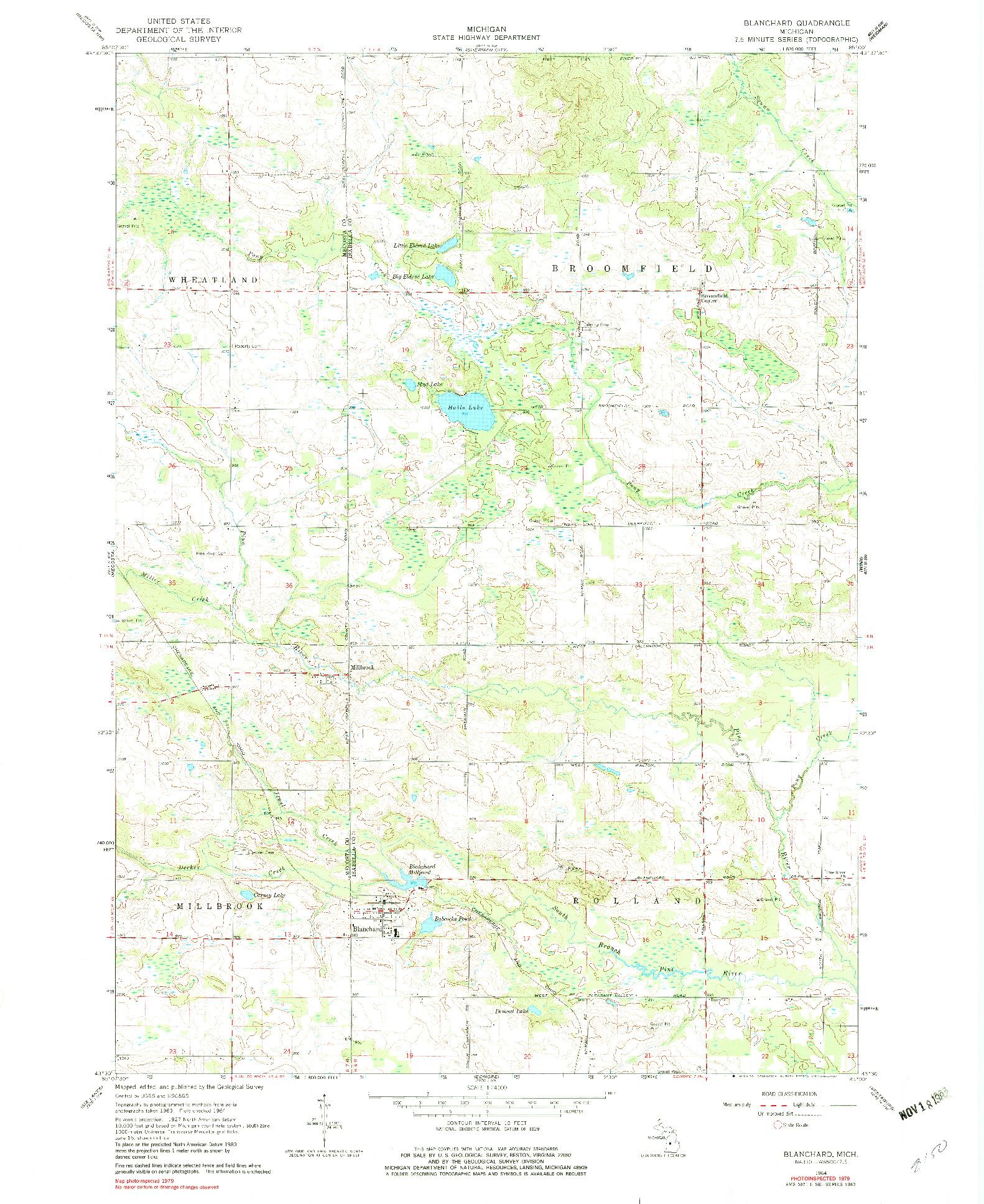 USGS 1:24000-SCALE QUADRANGLE FOR BLANCHARD, MI 1964