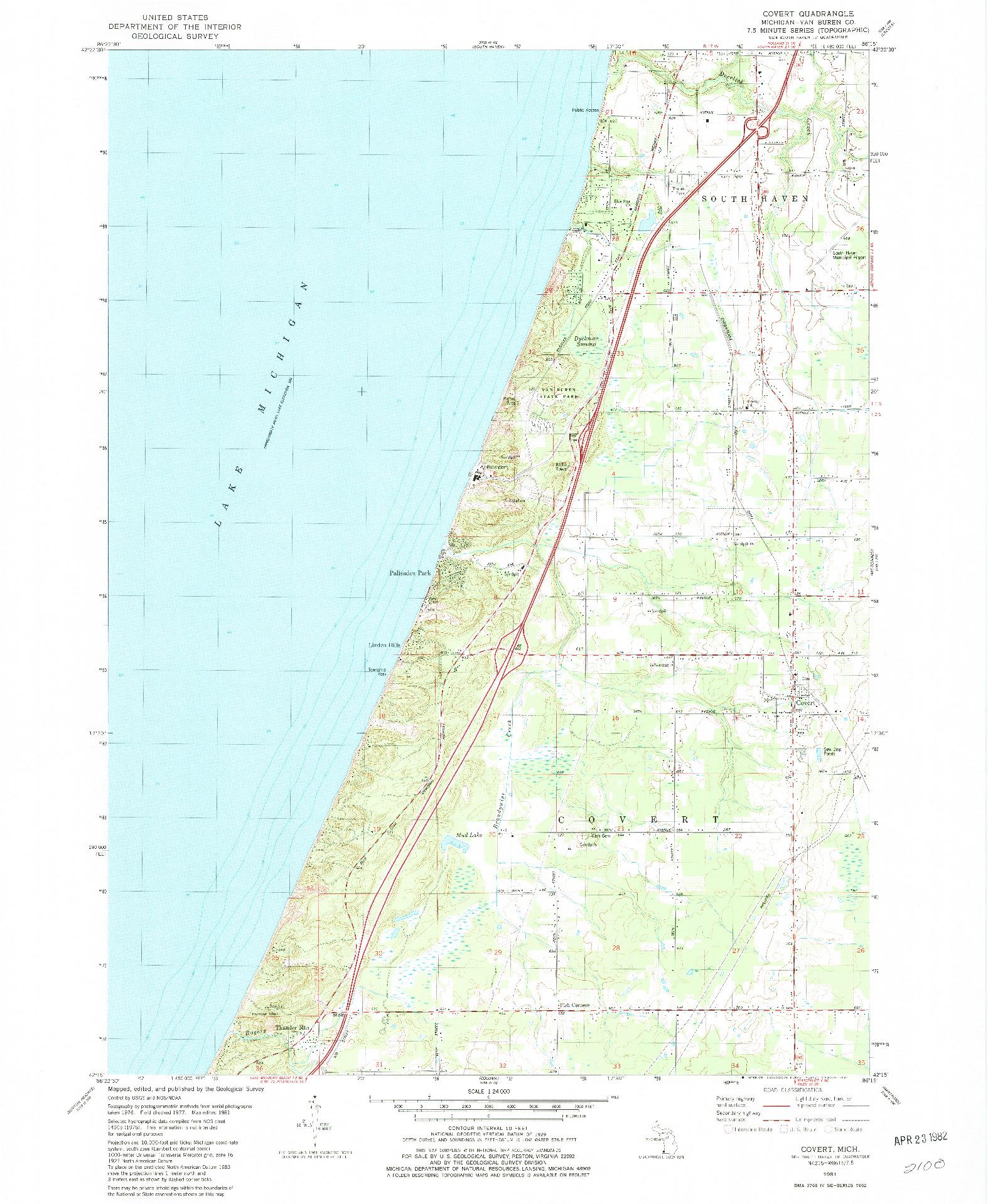 USGS 1:24000-SCALE QUADRANGLE FOR COVERT, MI 1981
