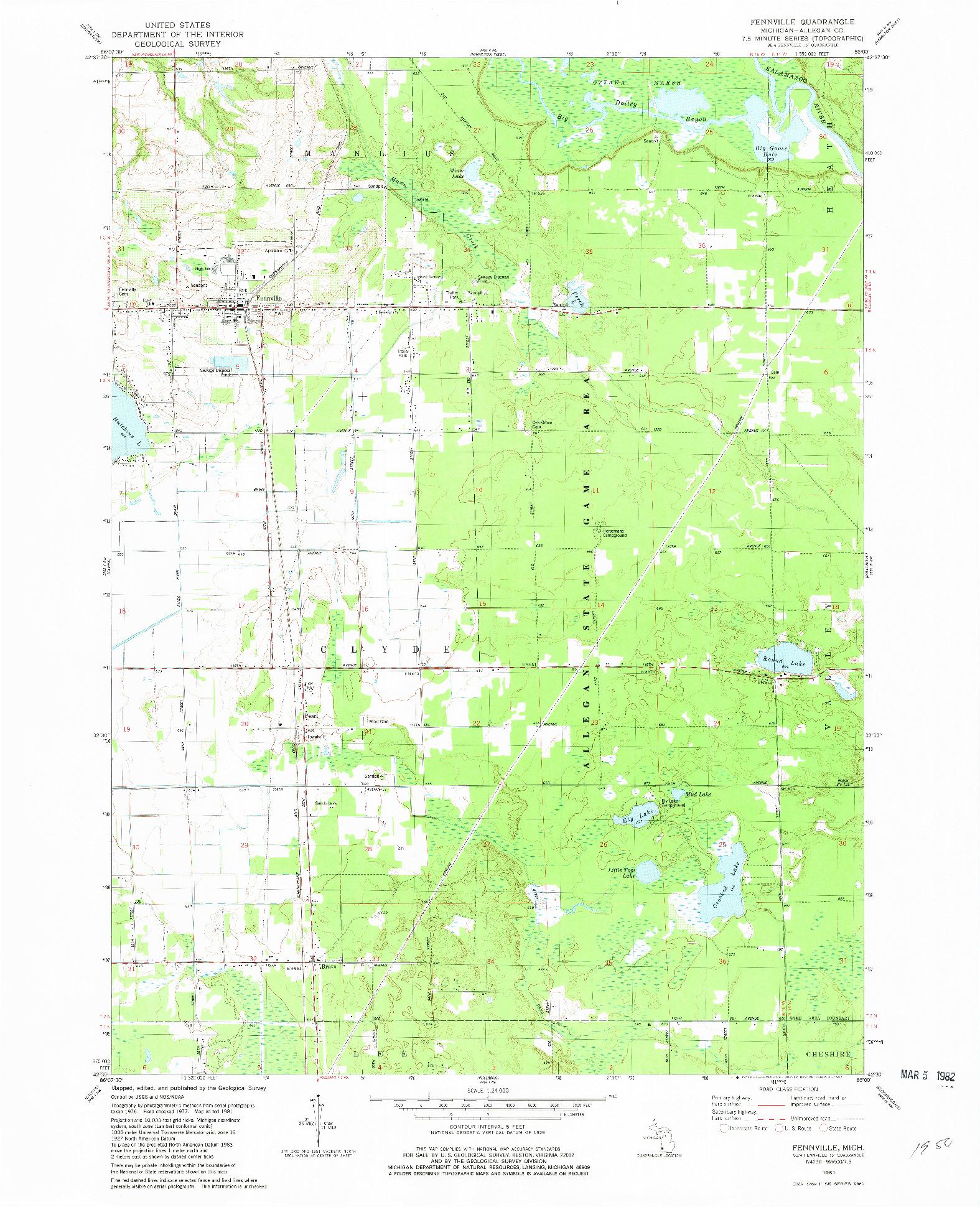 USGS 1:24000-SCALE QUADRANGLE FOR FENNVILLE, MI 1981