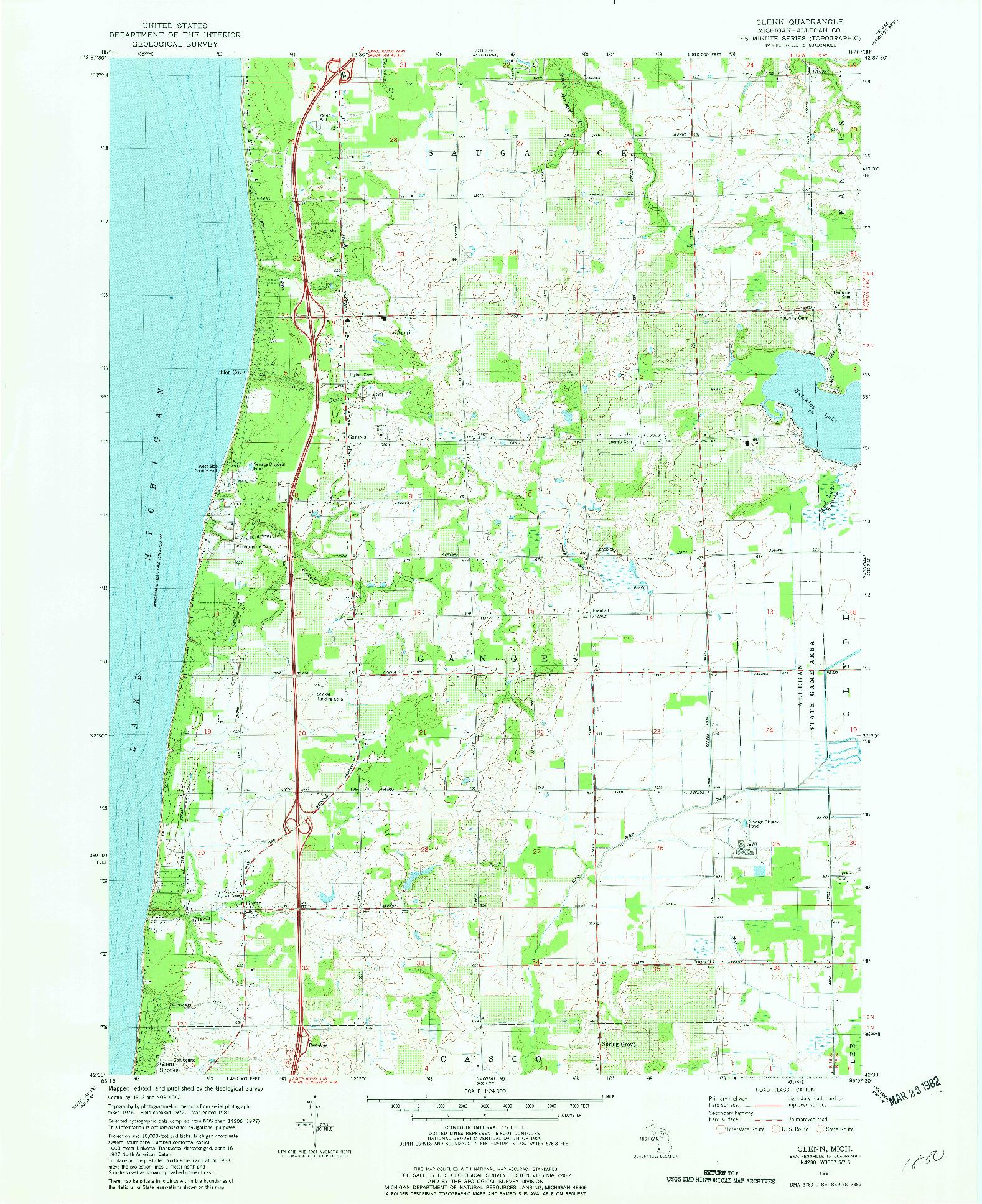 USGS 1:24000-SCALE QUADRANGLE FOR GLENN, MI 1981