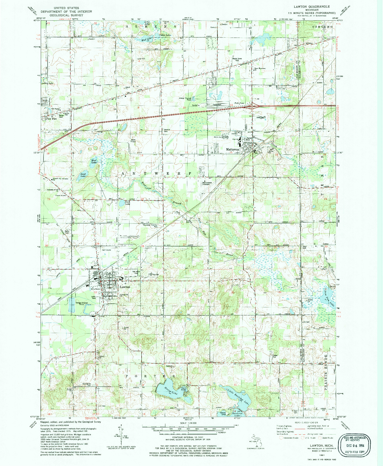 USGS 1:24000-SCALE QUADRANGLE FOR LAWTON, MI 1981
