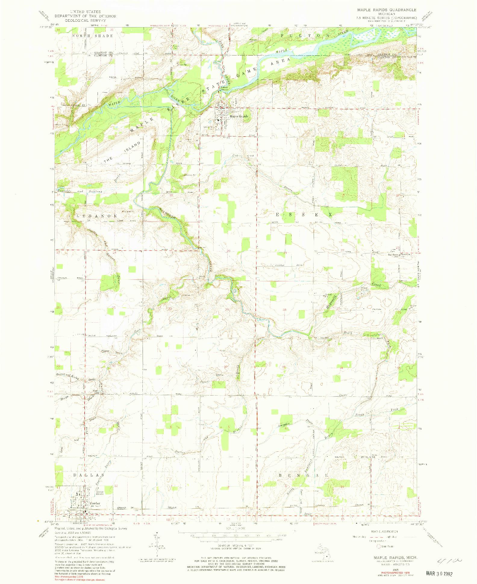 USGS 1:24000-SCALE QUADRANGLE FOR MAPLE RAPIDS, MI 1965