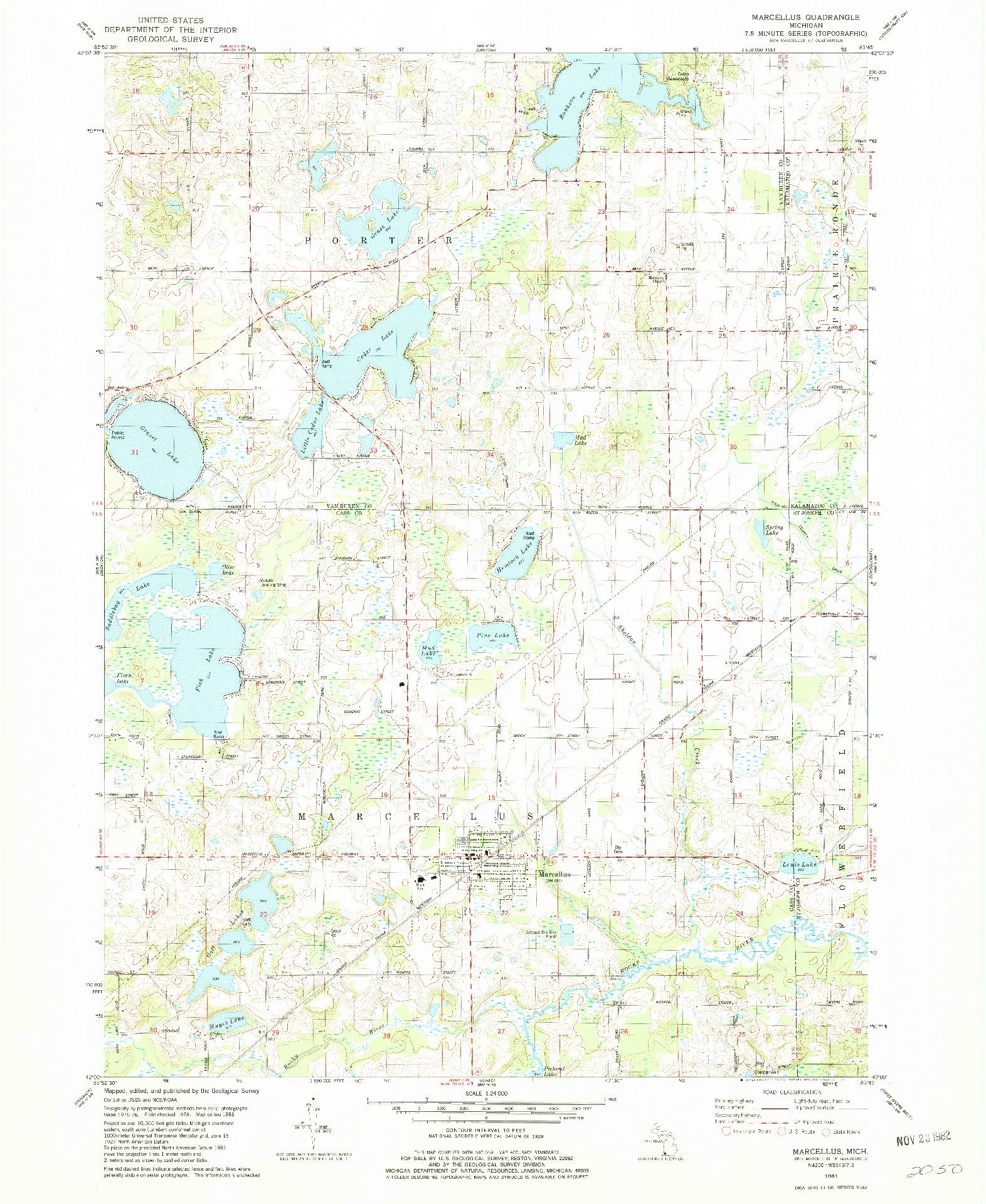 USGS 1:24000-SCALE QUADRANGLE FOR MARCELLUS, MI 1981