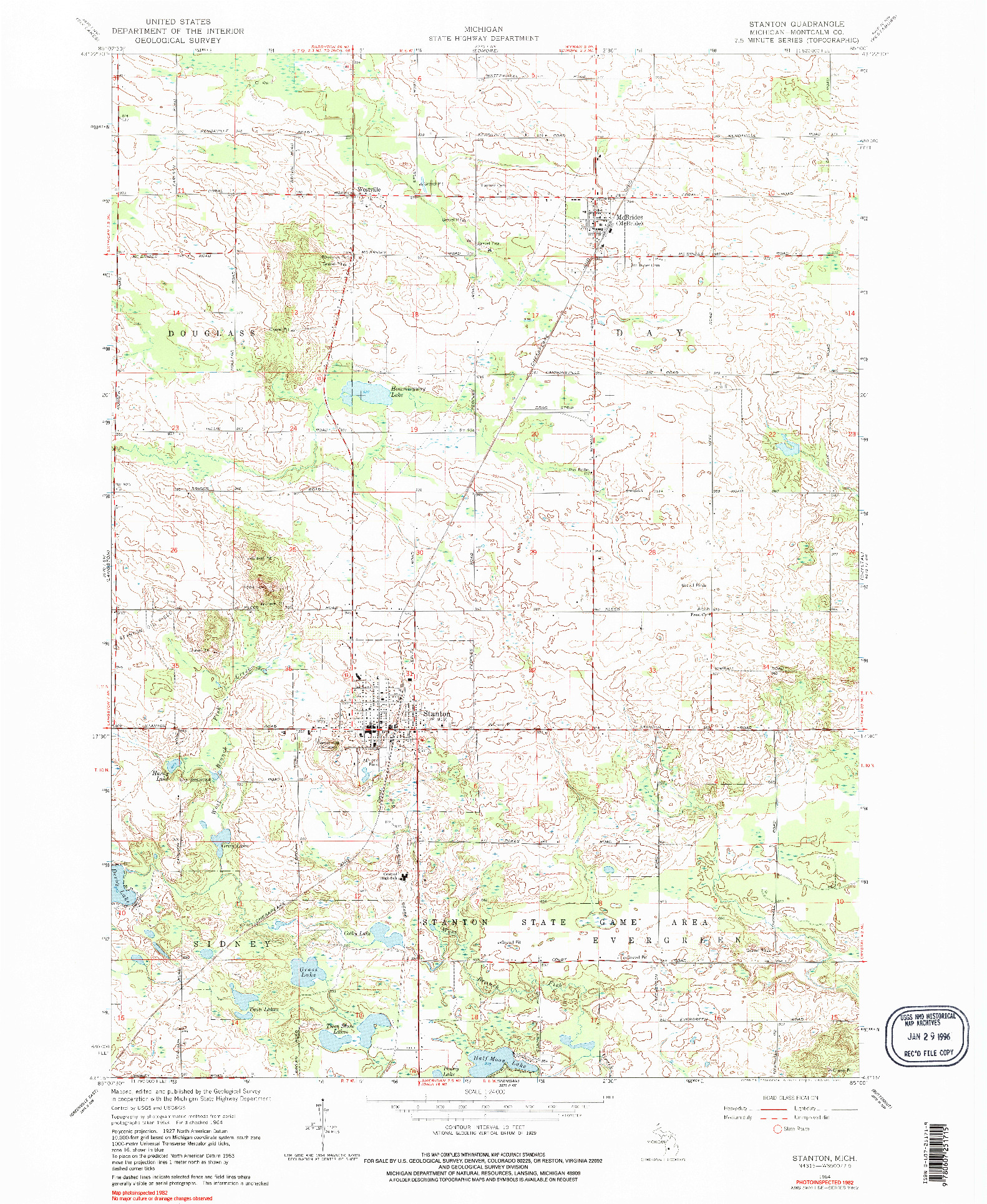 USGS 1:24000-SCALE QUADRANGLE FOR STANTON, MI 1964