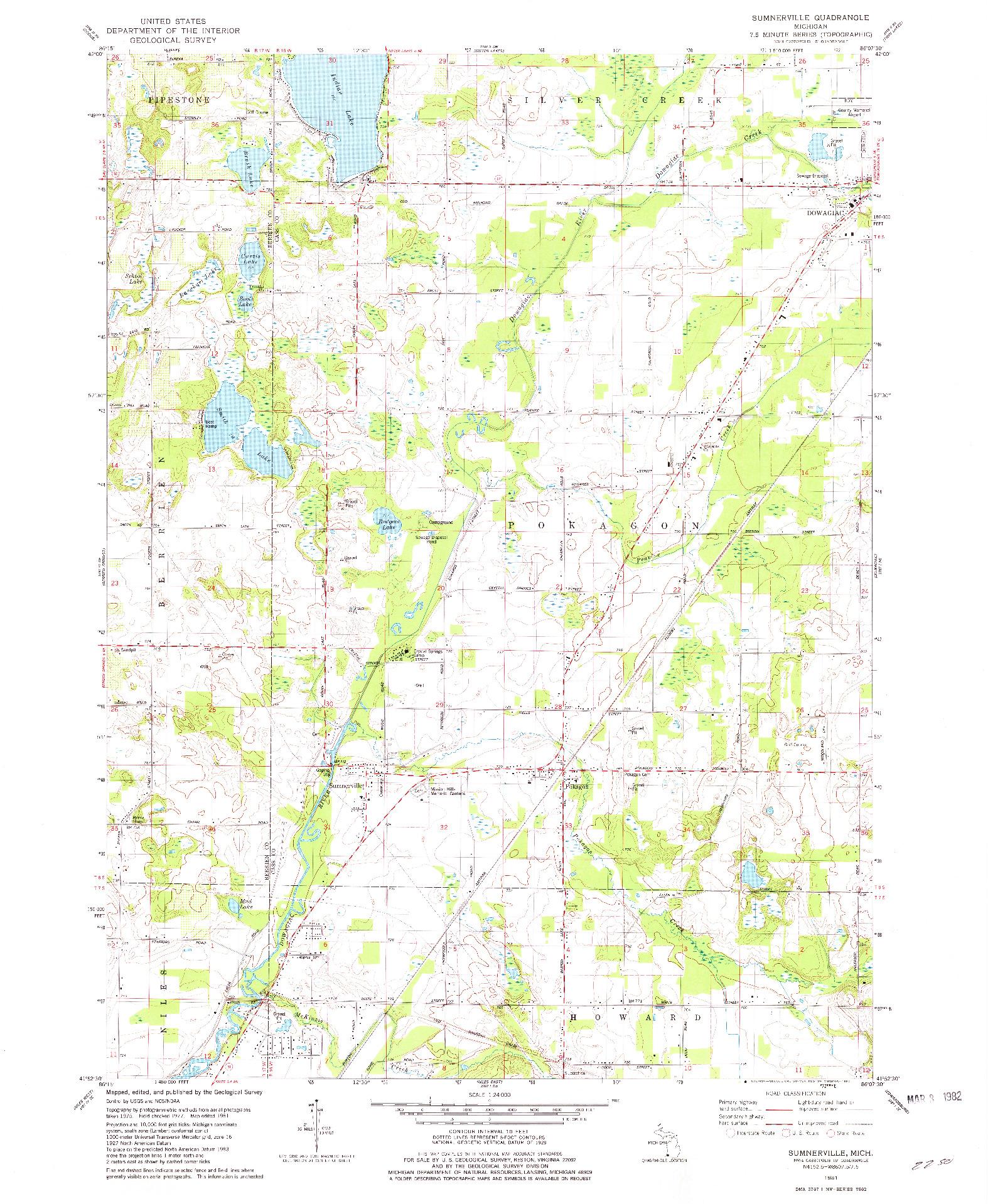 USGS 1:24000-SCALE QUADRANGLE FOR SUMNERVILLE, MI 1981