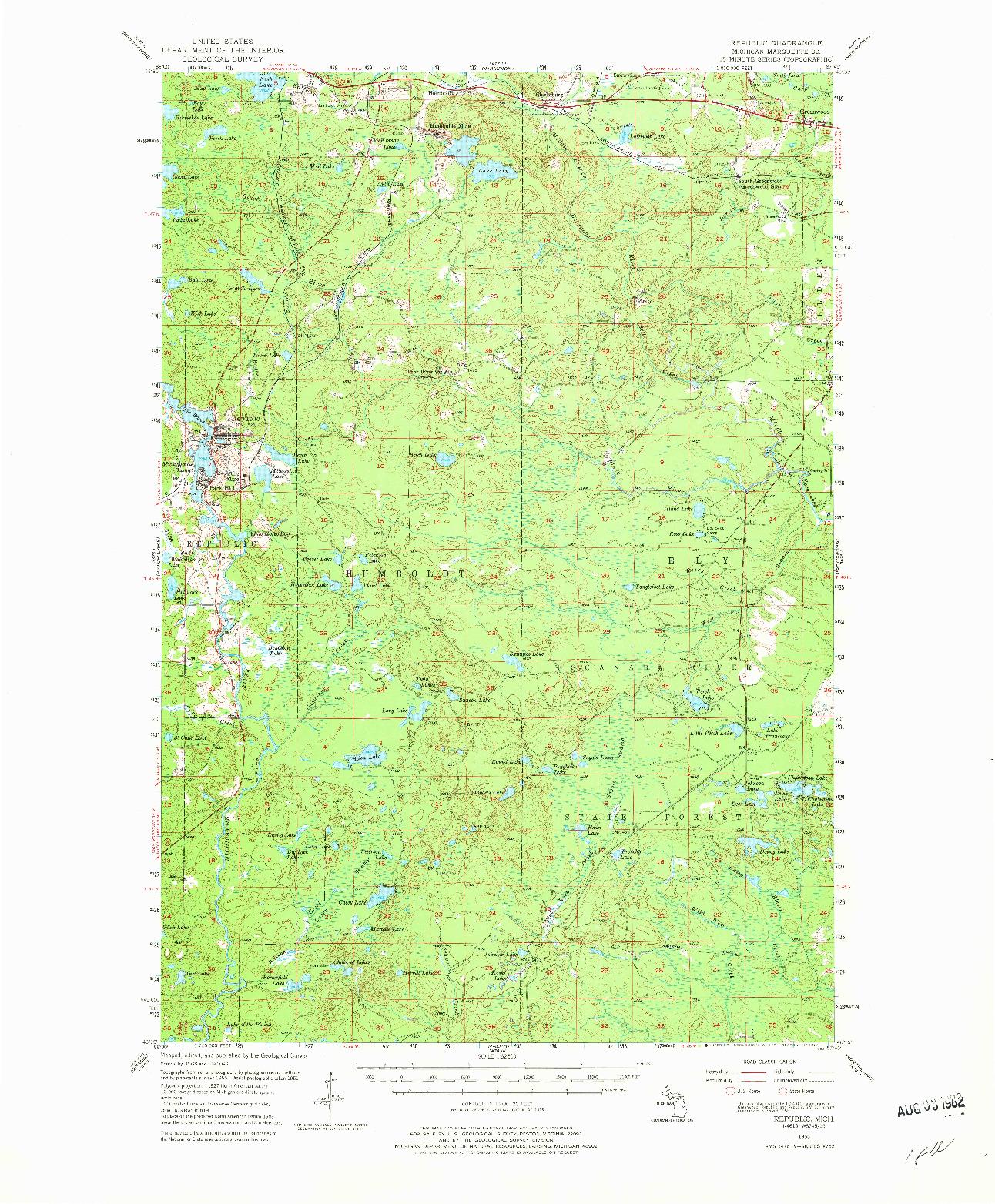 USGS 1:62500-SCALE QUADRANGLE FOR REPUBLIC, MI 1955