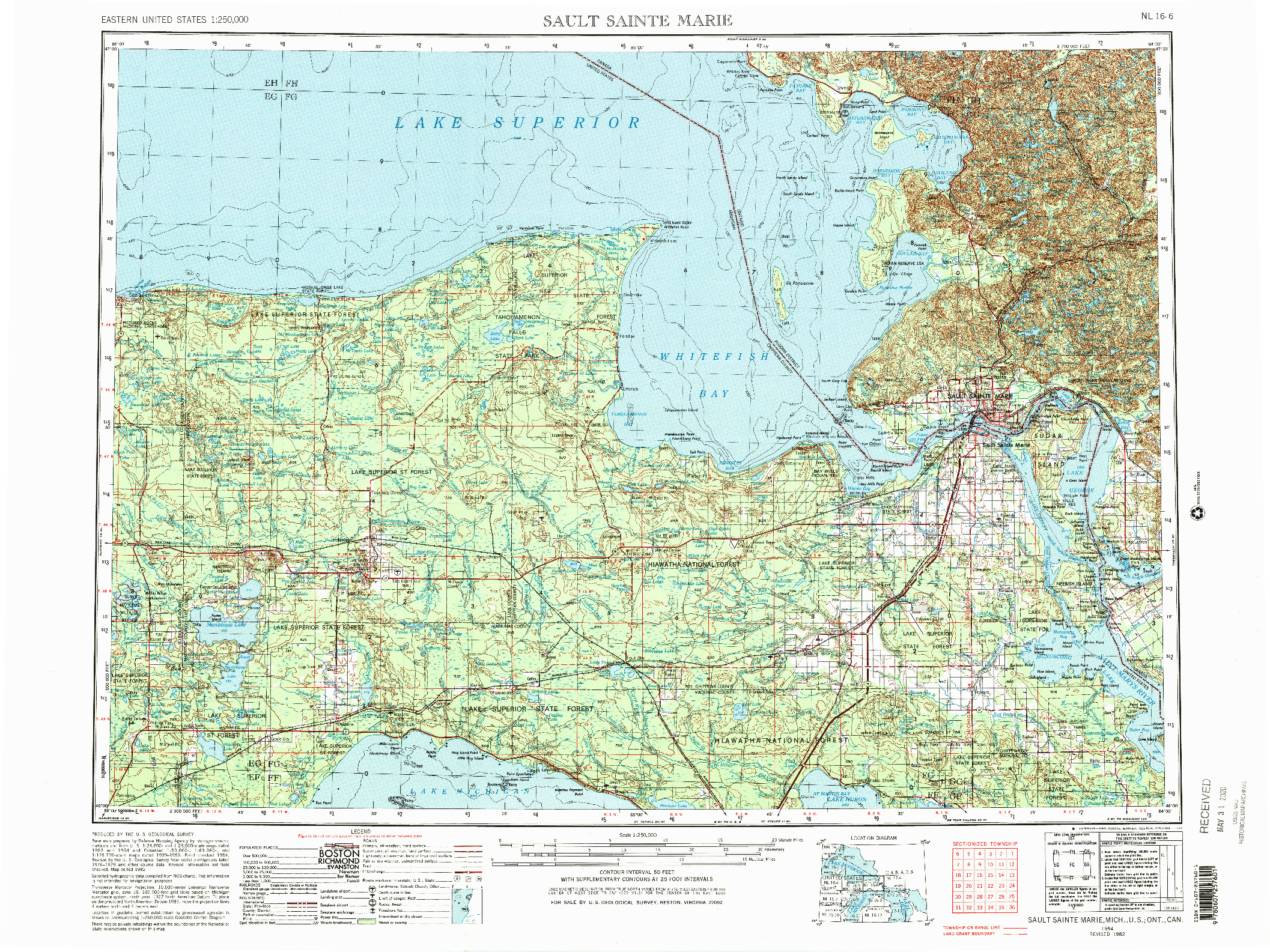 USGS 1:250000-SCALE QUADRANGLE FOR SAULT SAINTE MARIE, MI 1954