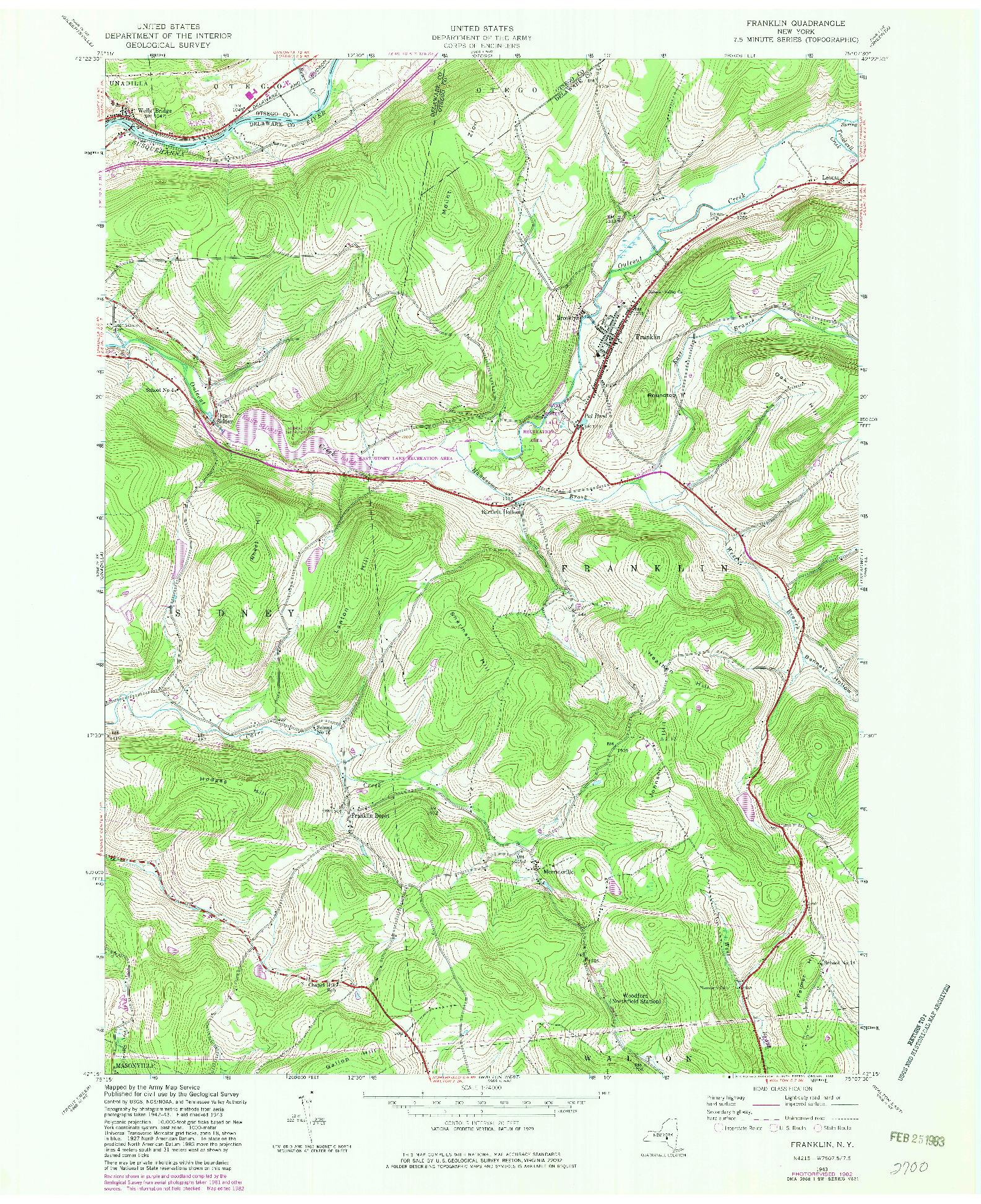 USGS 1:24000-SCALE QUADRANGLE FOR FRANKLIN, NY 1943