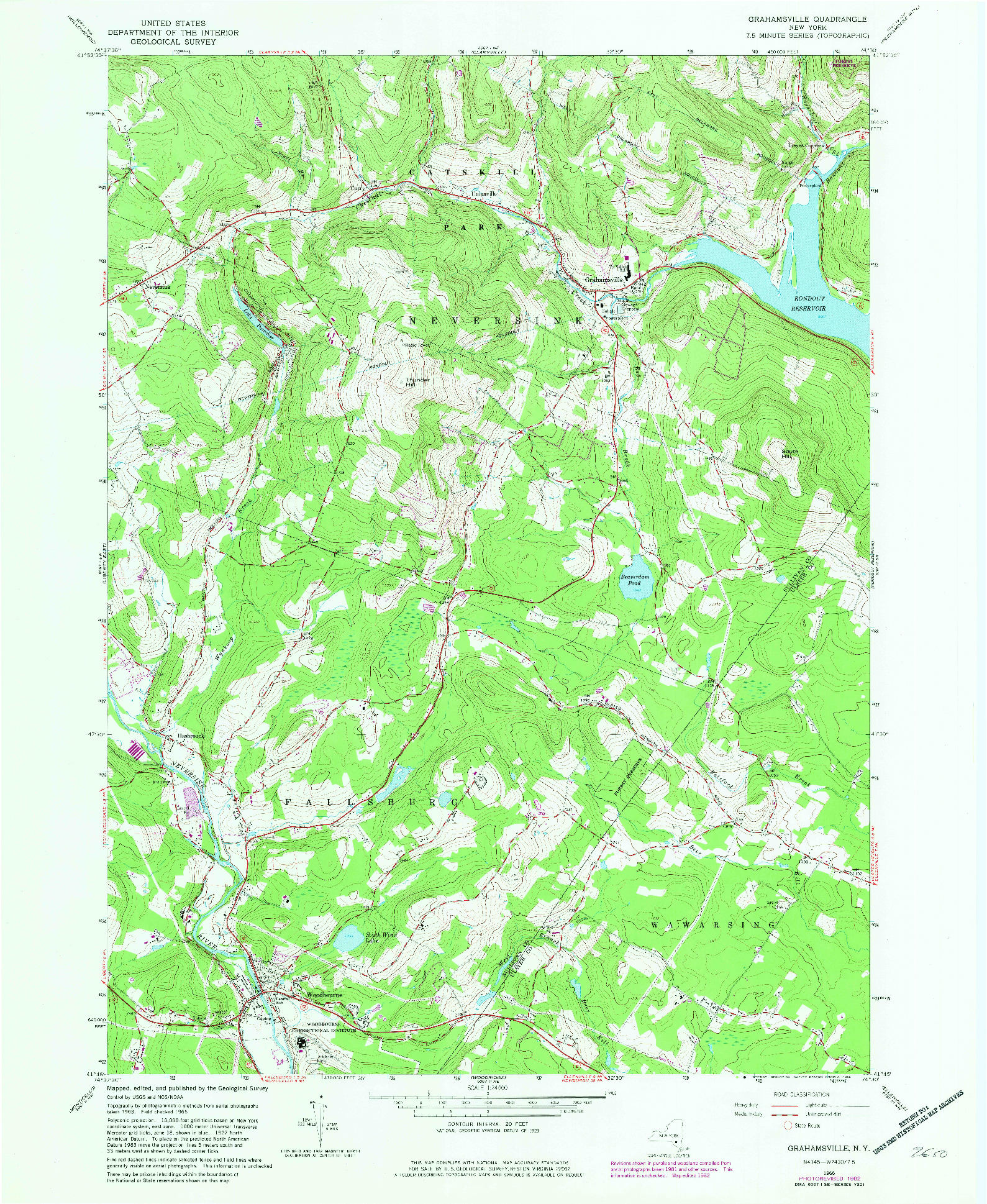 USGS 1:24000-SCALE QUADRANGLE FOR GRAHAMSVILLE, NY 1982