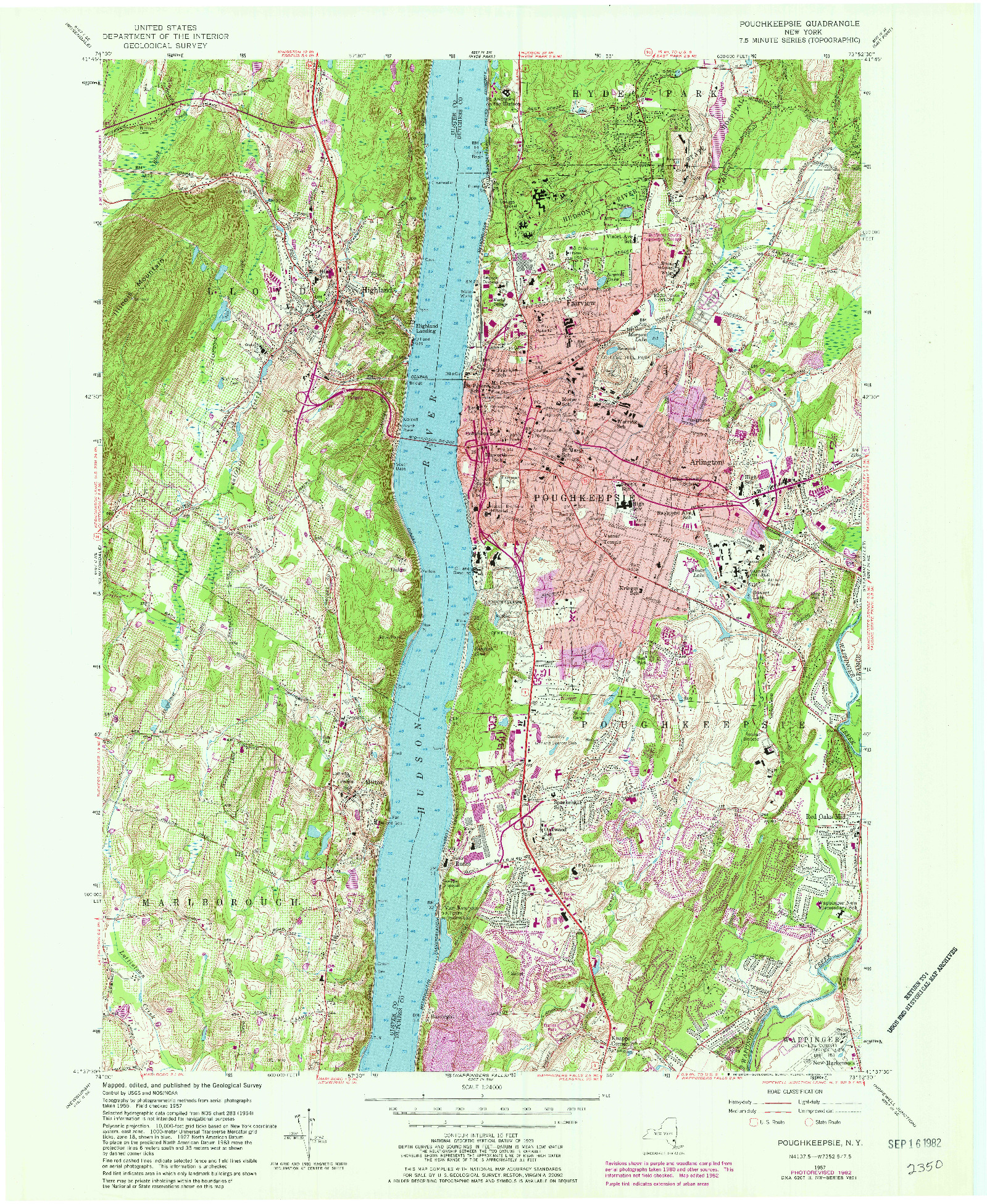 USGS 1:24000-SCALE QUADRANGLE FOR POUGHKEEPSIE, NY 1957