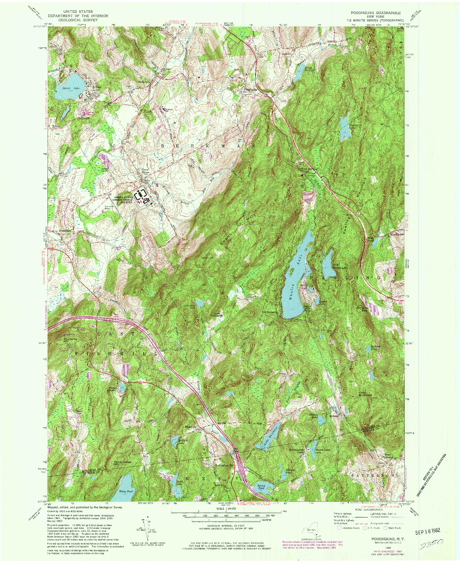 USGS 1:24000-SCALE QUADRANGLE FOR POUGHQUAG, NY 1960