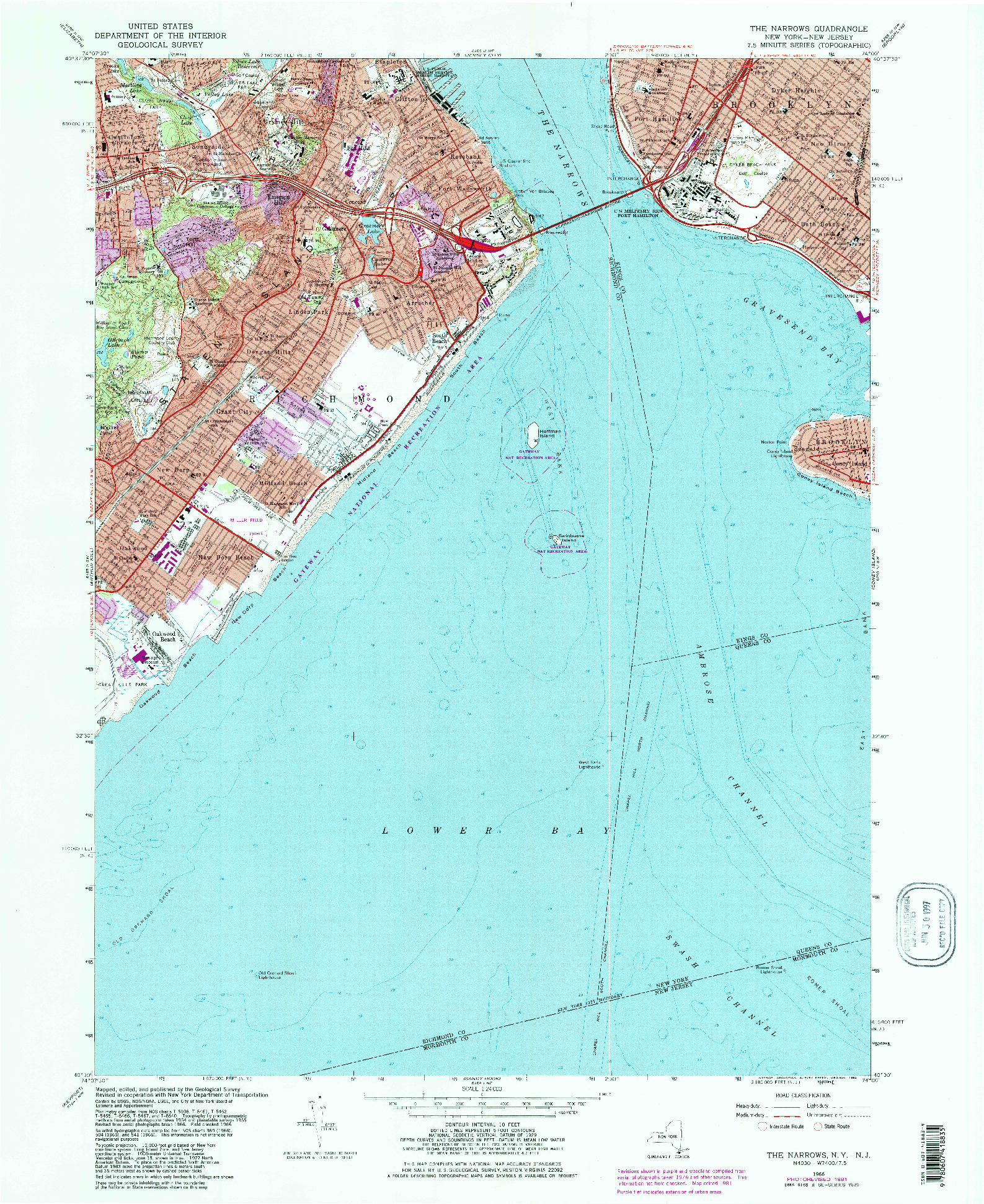 USGS 1:24000-SCALE QUADRANGLE FOR THE NARROWS, NY 1966