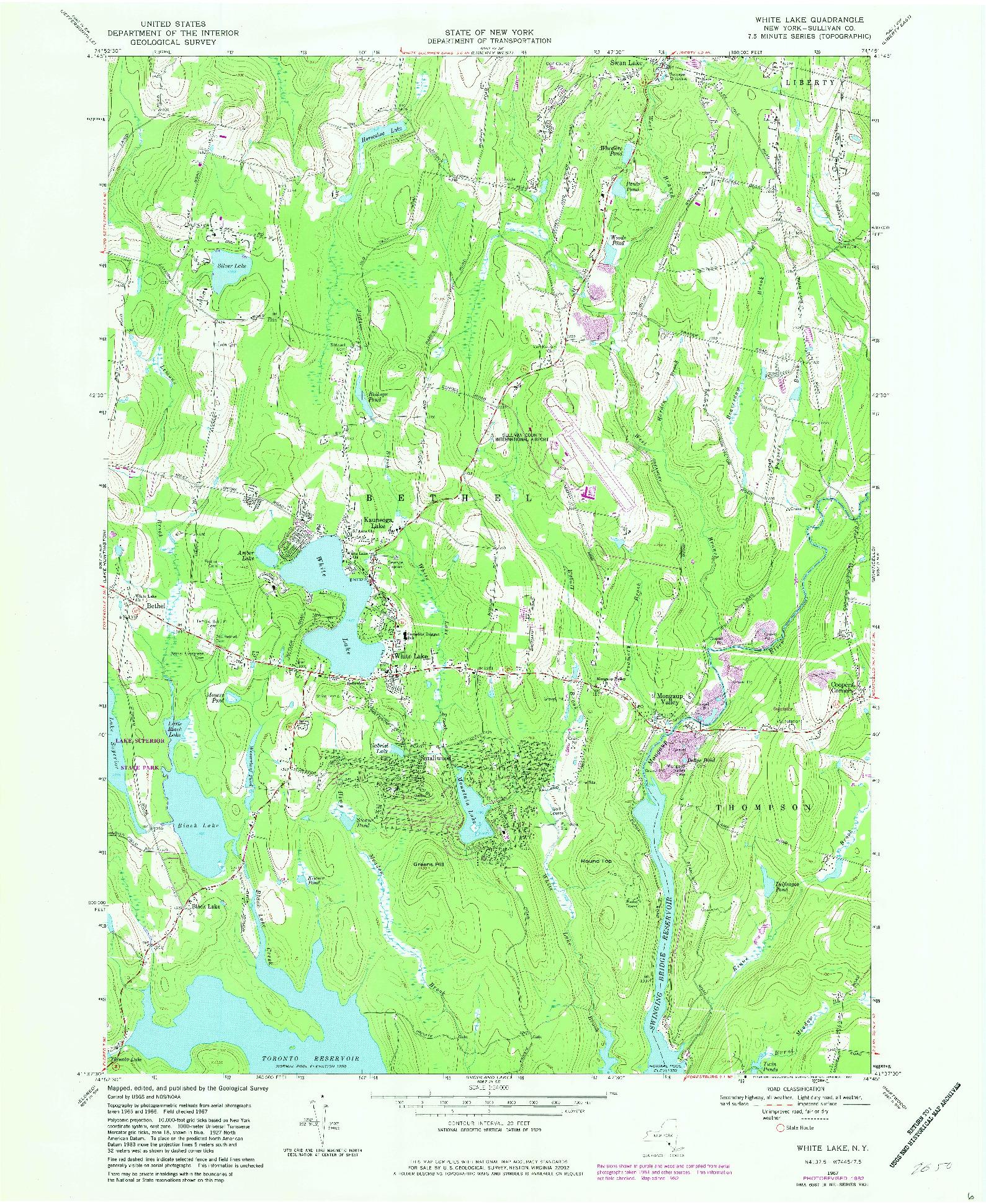 USGS 1:24000-SCALE QUADRANGLE FOR WHITE LAKE, NY 1967