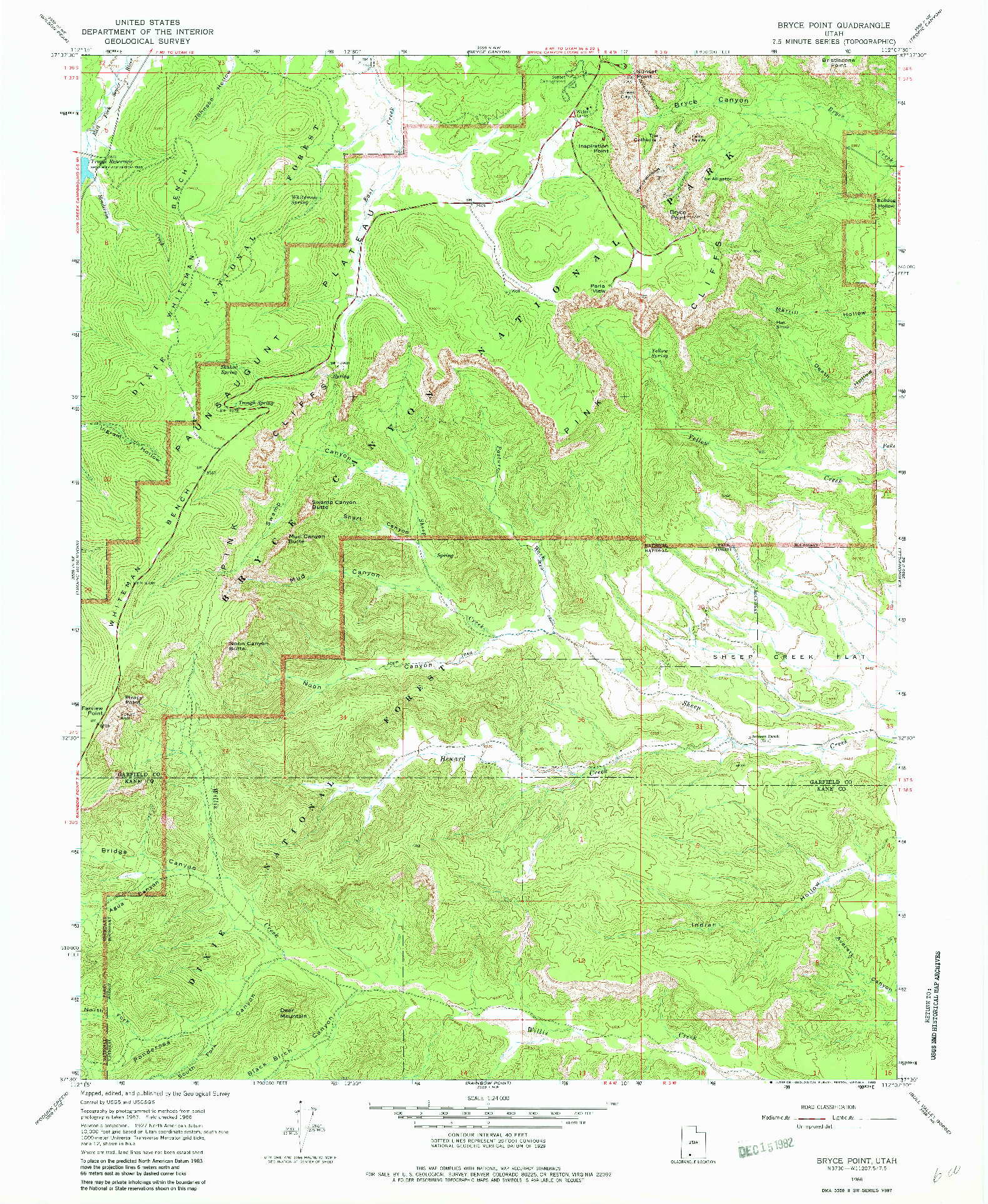 USGS 1:24000-SCALE QUADRANGLE FOR BRYCE POINT, UT 1966