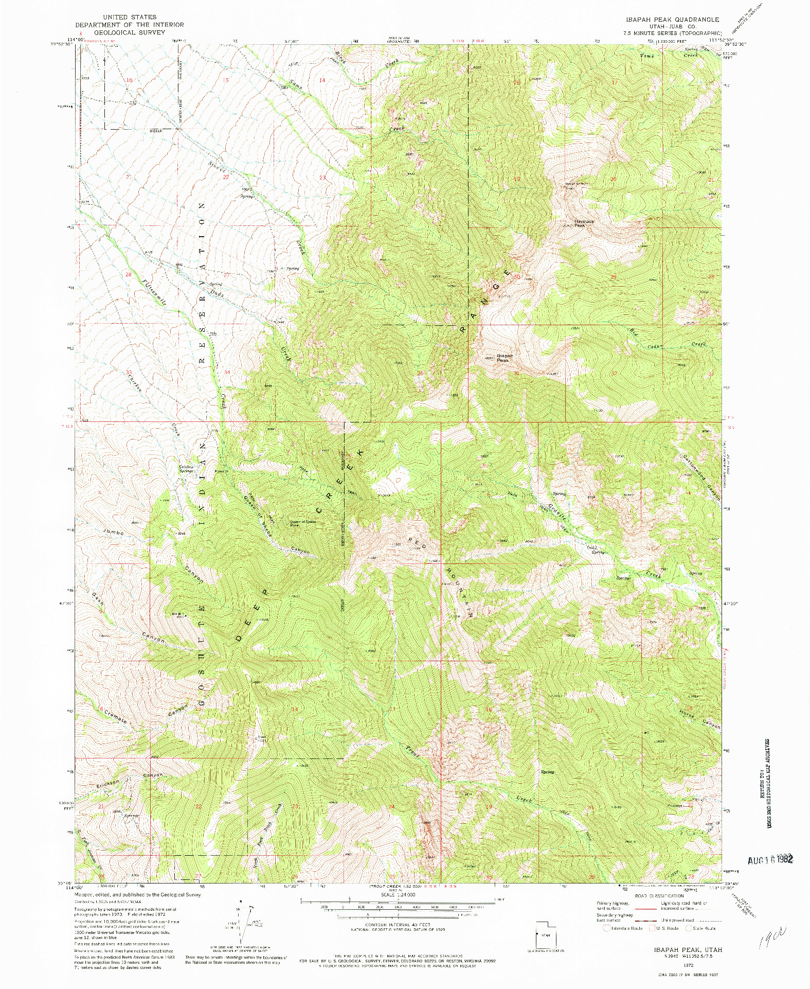 USGS 1:24000-SCALE QUADRANGLE FOR IBAPAH PEAK, UT 1972