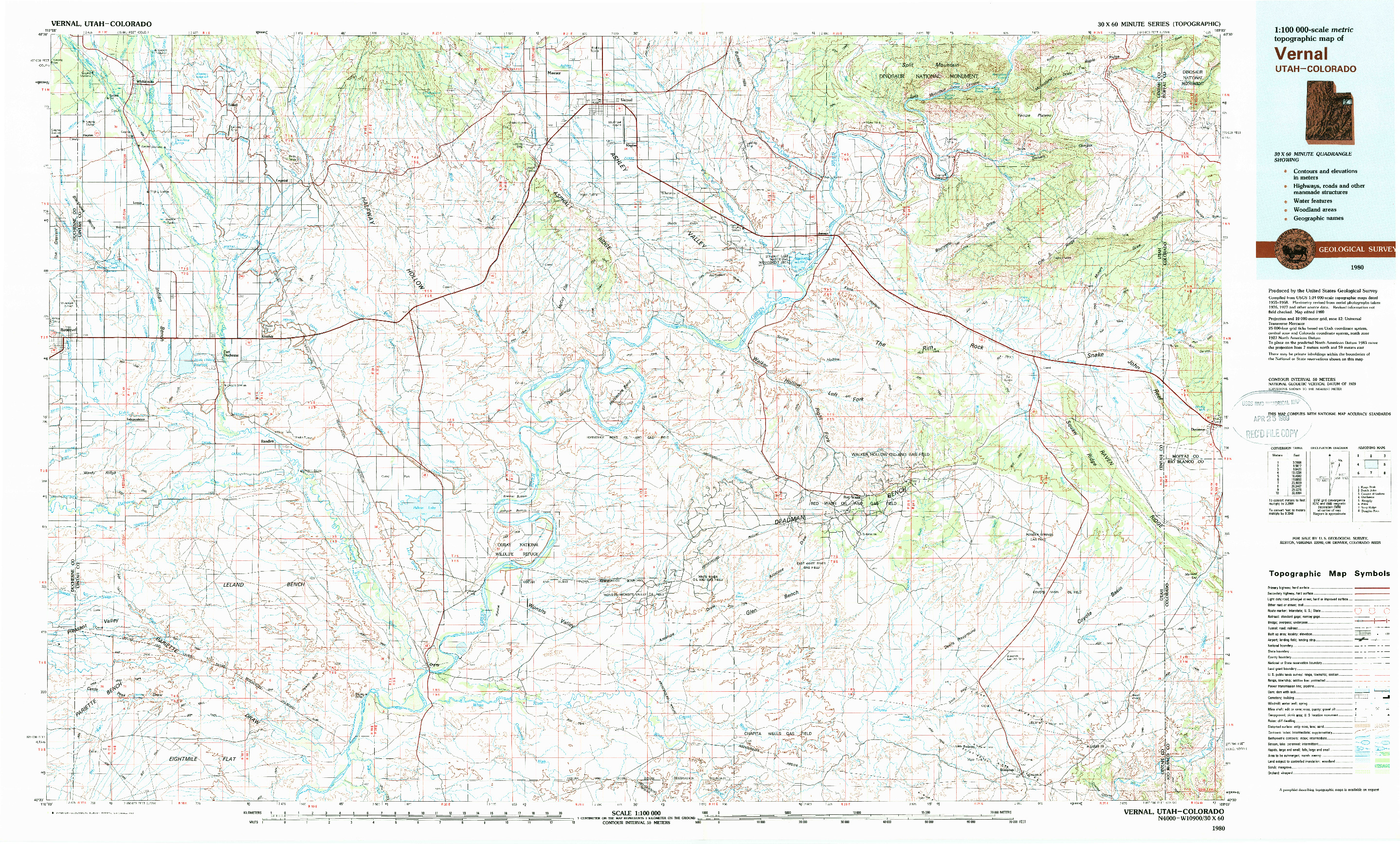 USGS 1:100000-SCALE QUADRANGLE FOR VERNAL, UT 1980