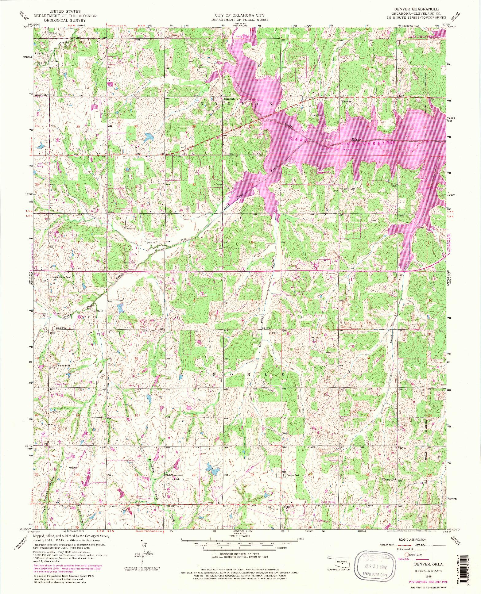 USGS 1:24000-SCALE QUADRANGLE FOR DENVER, OK 1958