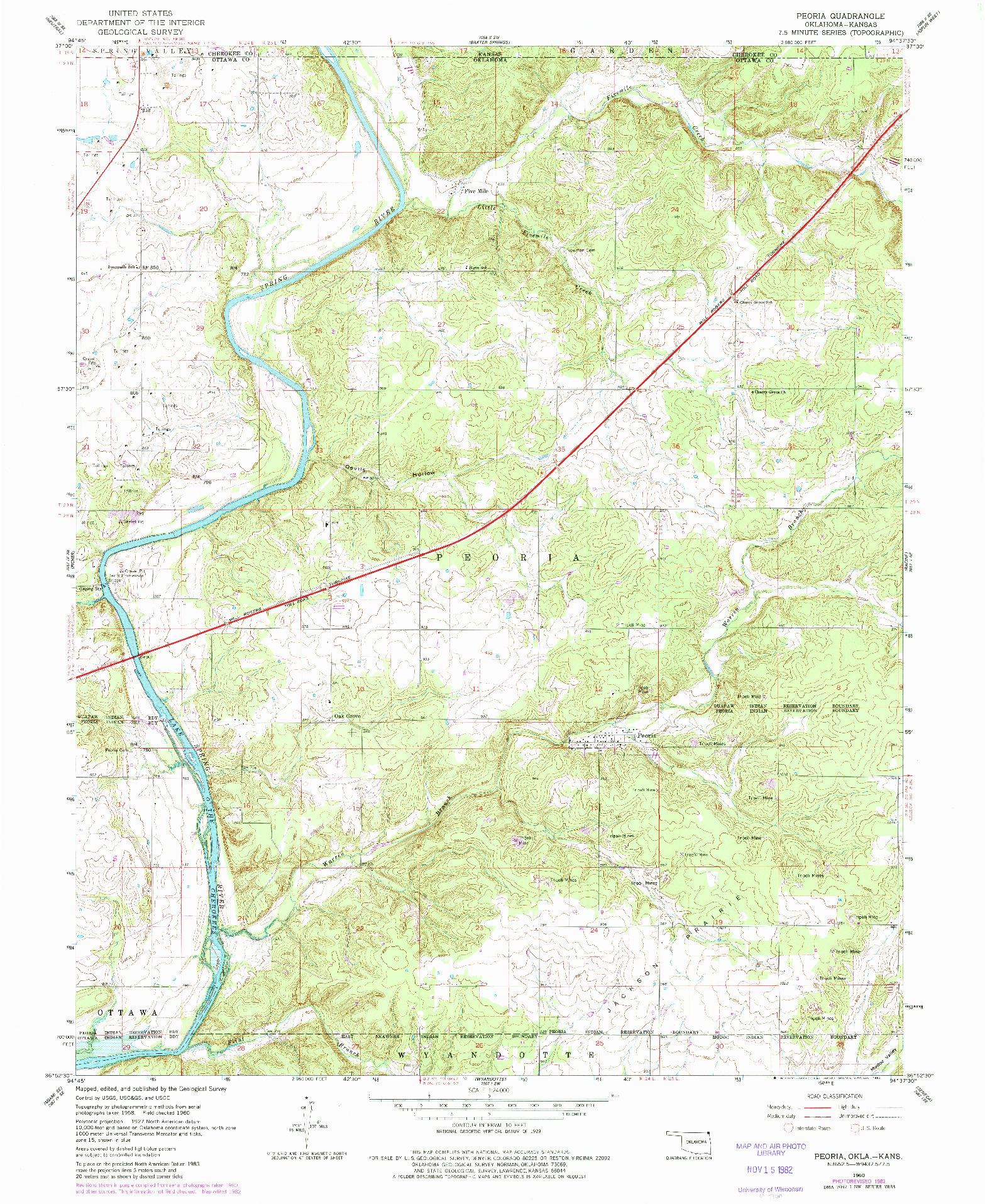 USGS 1:24000-SCALE QUADRANGLE FOR PEORIA, OK 1960