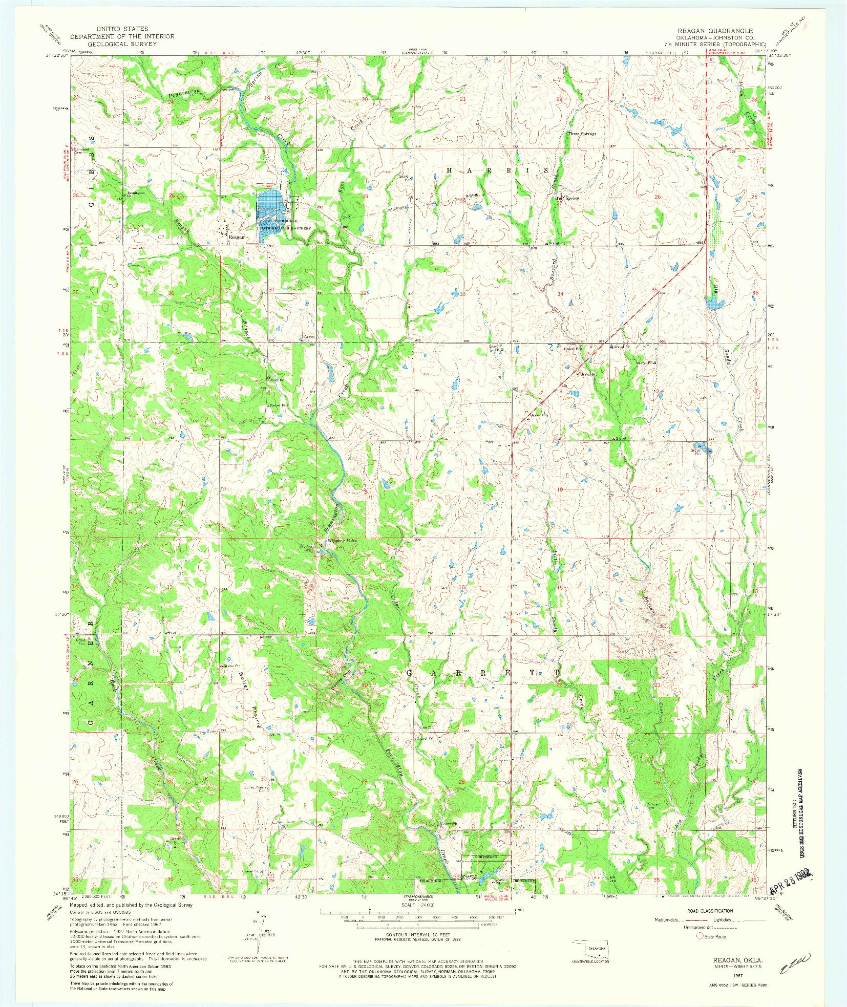 USGS 1:24000-SCALE QUADRANGLE FOR REAGAN, OK 1967