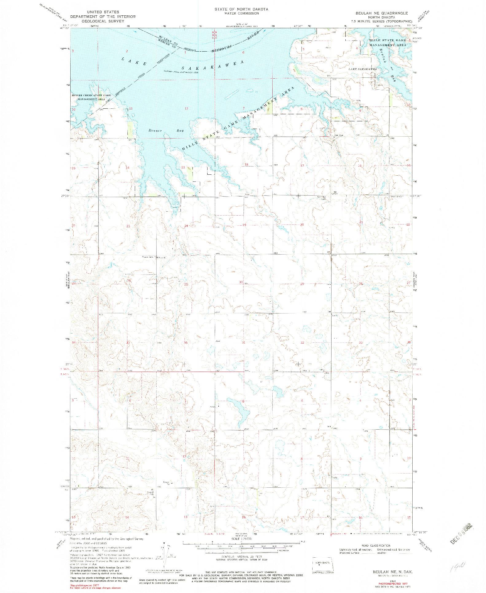 USGS 1:24000-SCALE QUADRANGLE FOR BEULAH NE, ND 1969