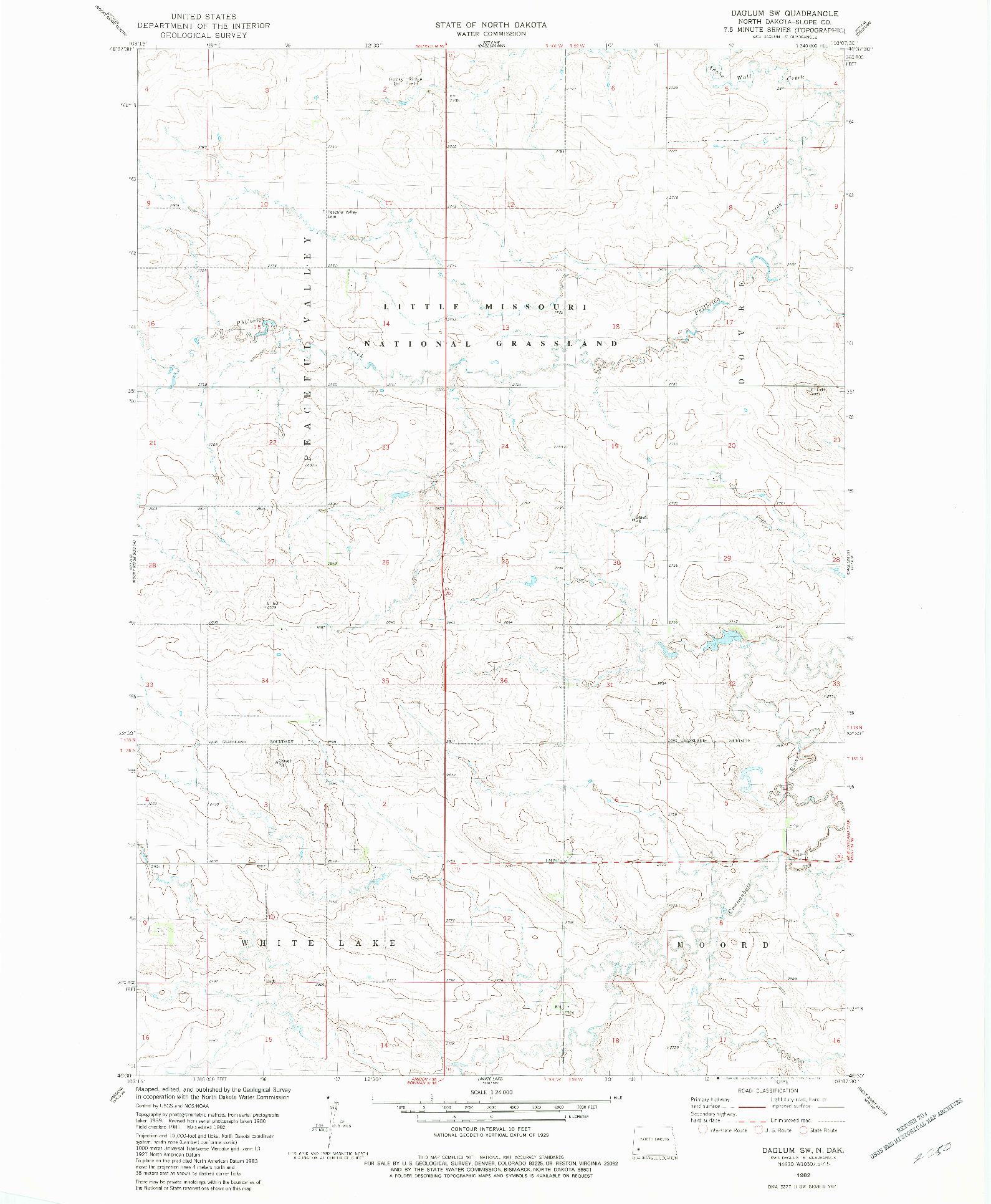 USGS 1:24000-SCALE QUADRANGLE FOR DAGLUM SW, ND 1982
