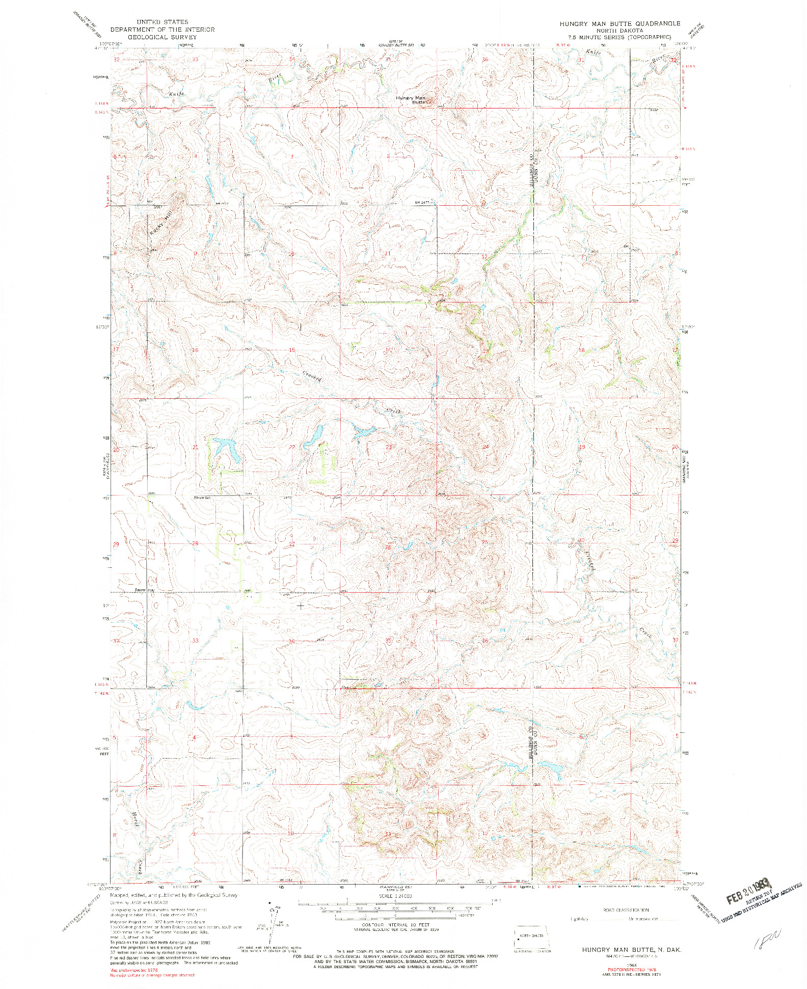 USGS 1:24000-SCALE QUADRANGLE FOR HUNGRY MAN BUTTE, ND 1978