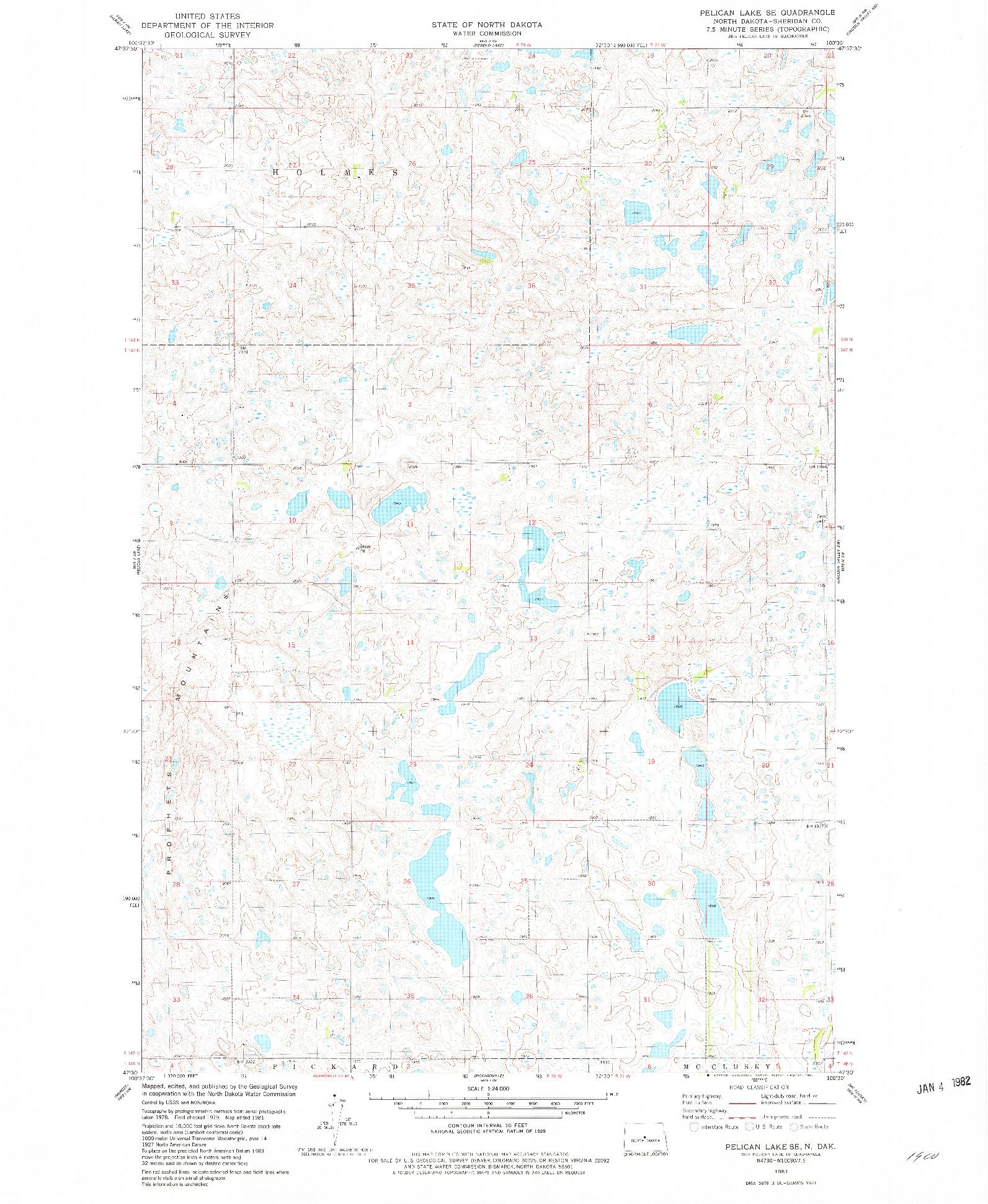 USGS 1:24000-SCALE QUADRANGLE FOR PELICAN LAKE SE, ND 1981