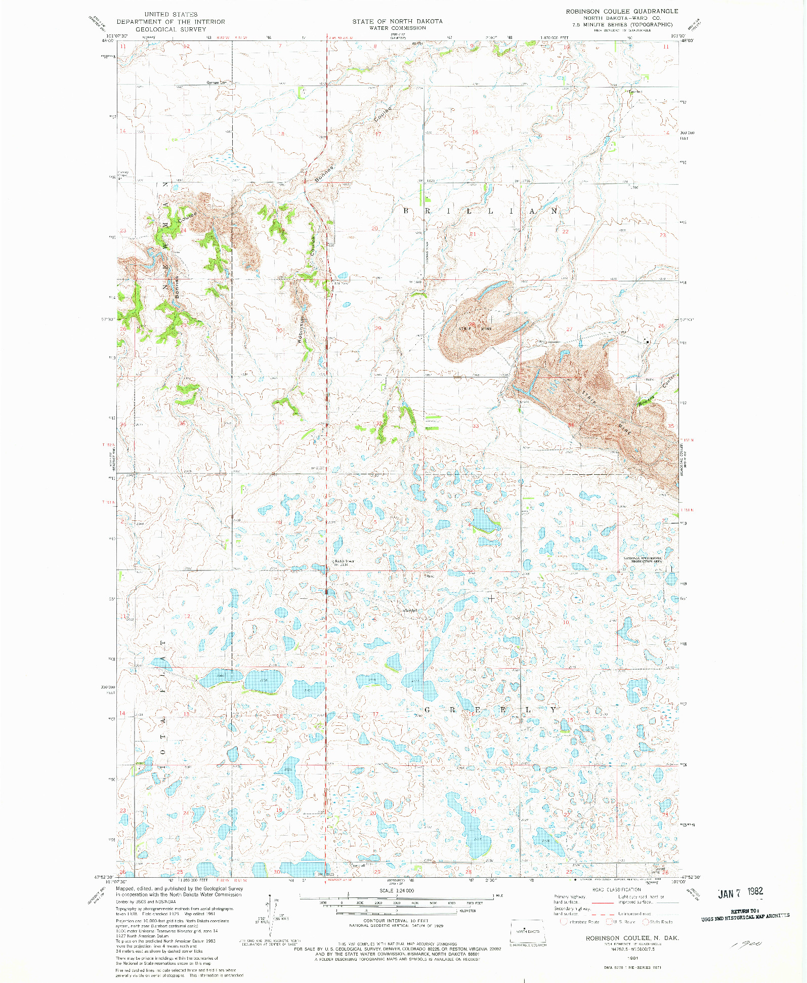 USGS 1:24000-SCALE QUADRANGLE FOR ROBINSON COULEE, ND 1981