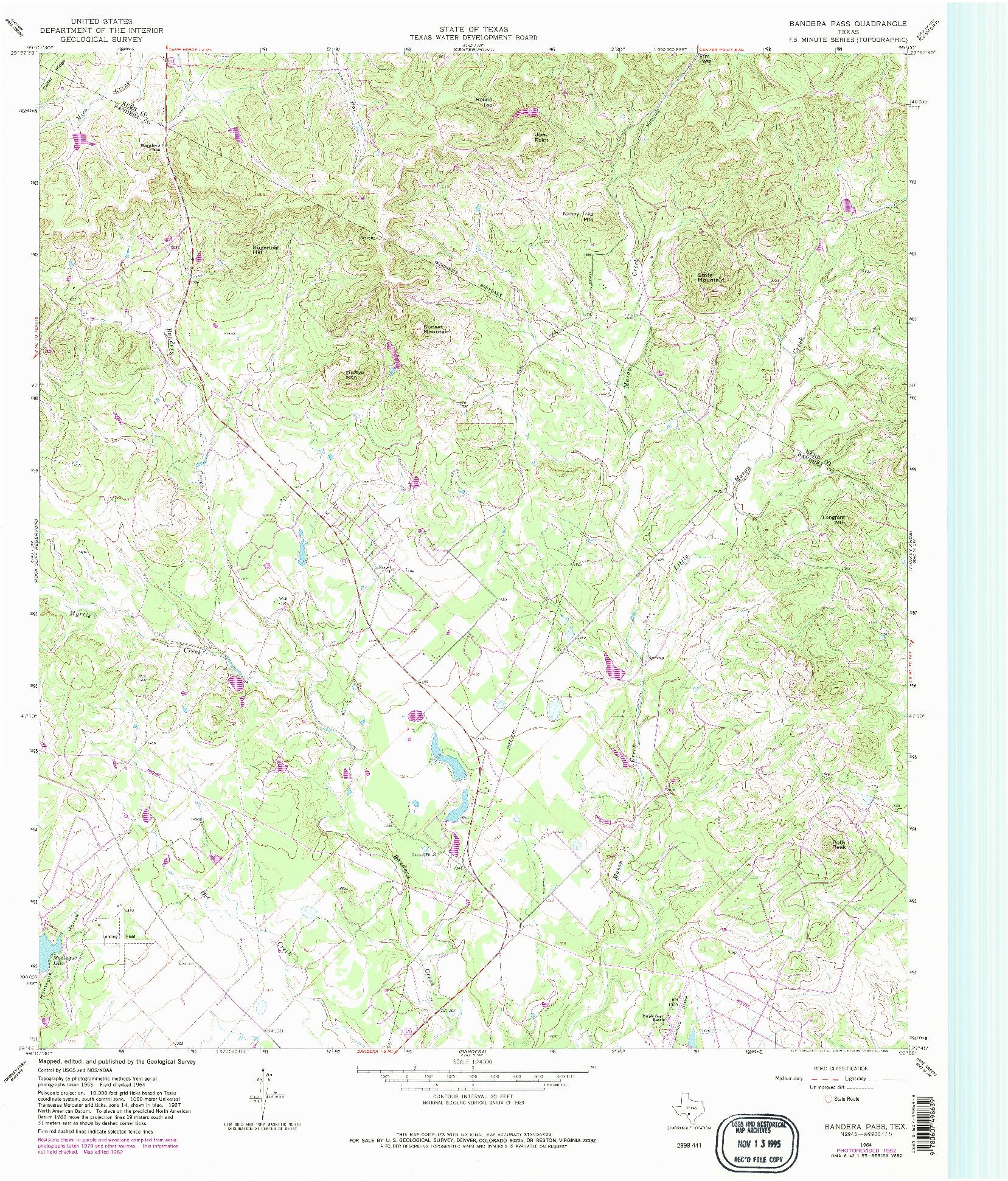 USGS 1:24000-SCALE QUADRANGLE FOR BANDERA PASS, TX 1964