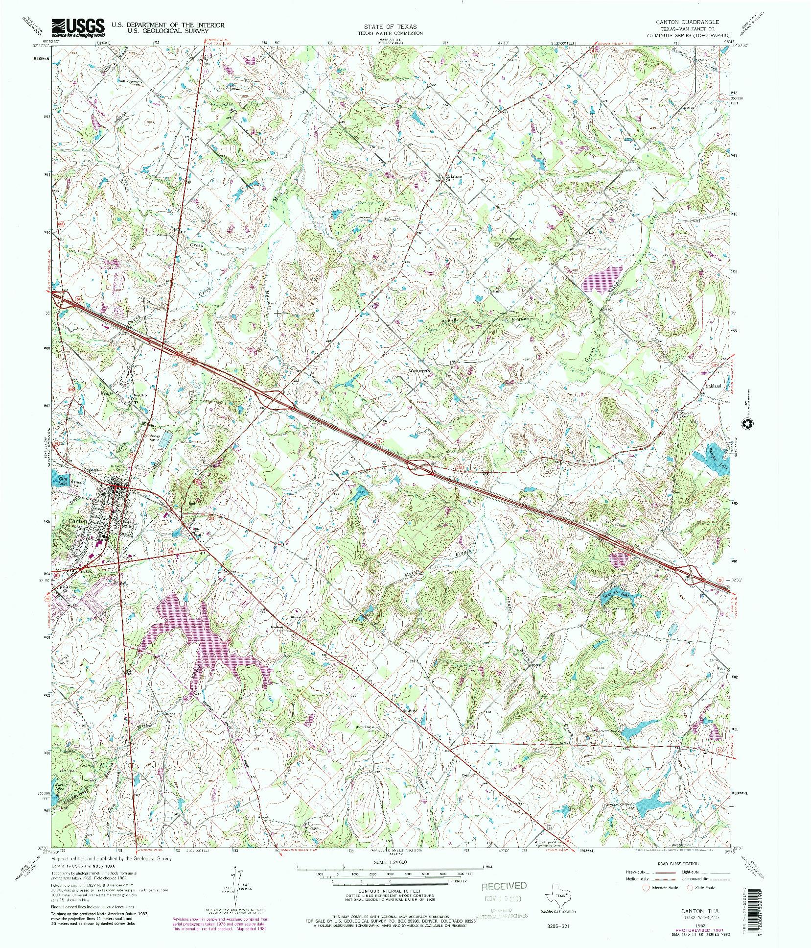 USGS 1:24000-SCALE QUADRANGLE FOR CANTON, TX 1962