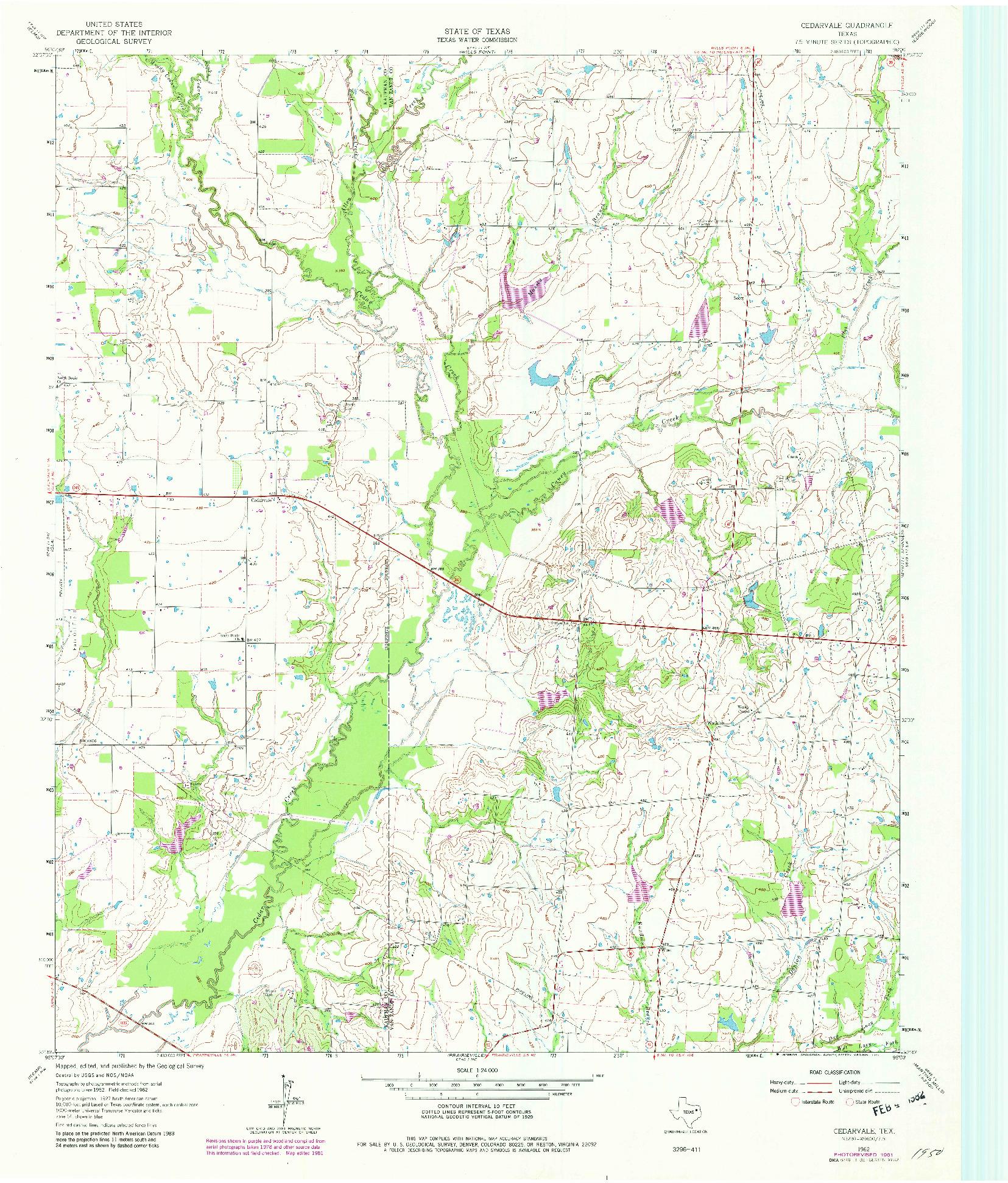 USGS 1:24000-SCALE QUADRANGLE FOR CEDARVALE, TX 1962