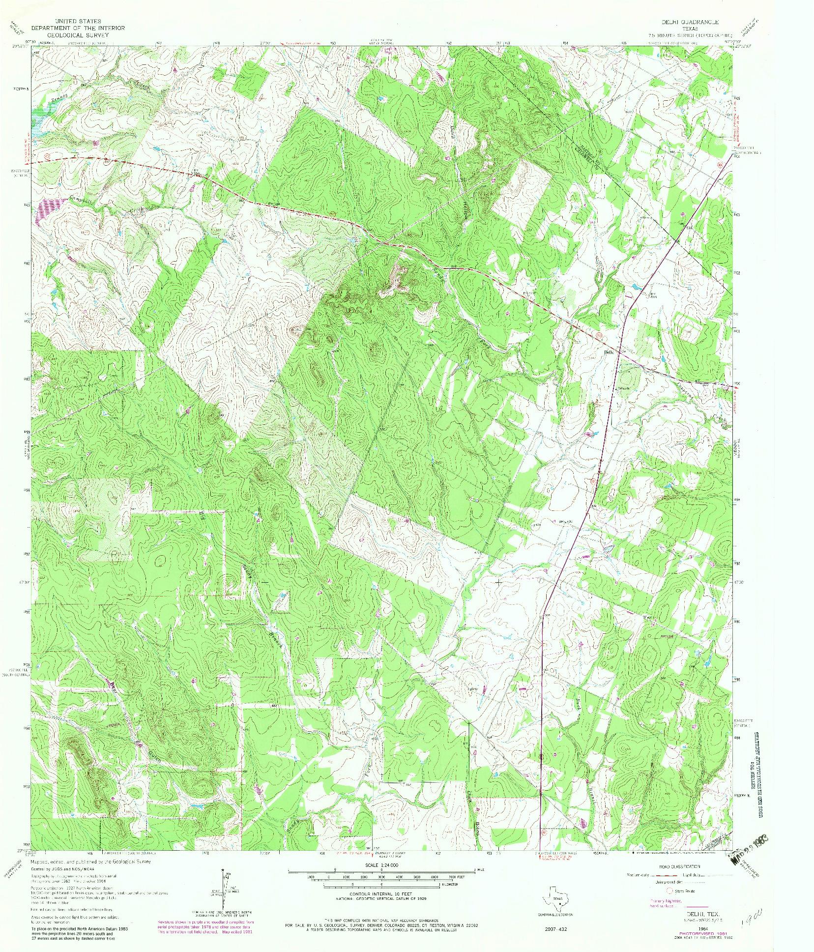 USGS 1:24000-SCALE QUADRANGLE FOR DELHI, TX 1964