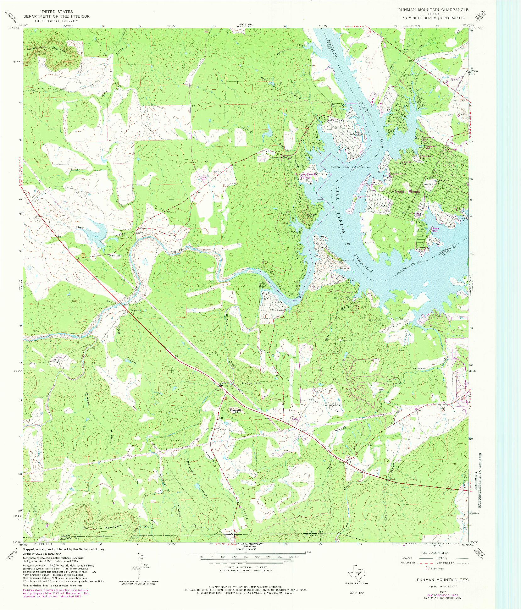 USGS 1:24000-SCALE QUADRANGLE FOR DUNMAN MOUNTAIN, TX 1967