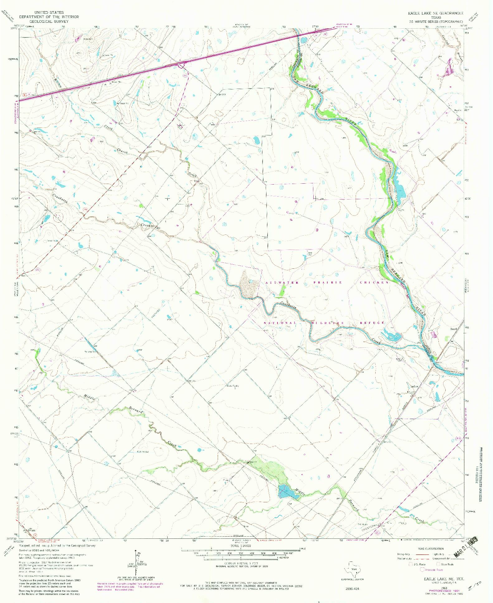 USGS 1:24000-SCALE QUADRANGLE FOR EAGLE LAKE NE, TX 1963
