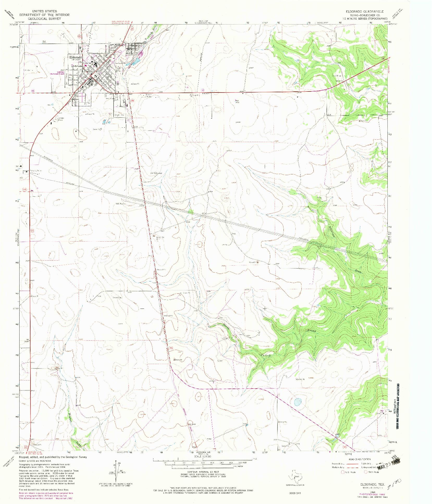 USGS 1:24000-SCALE QUADRANGLE FOR ELDORADO, TX 1964