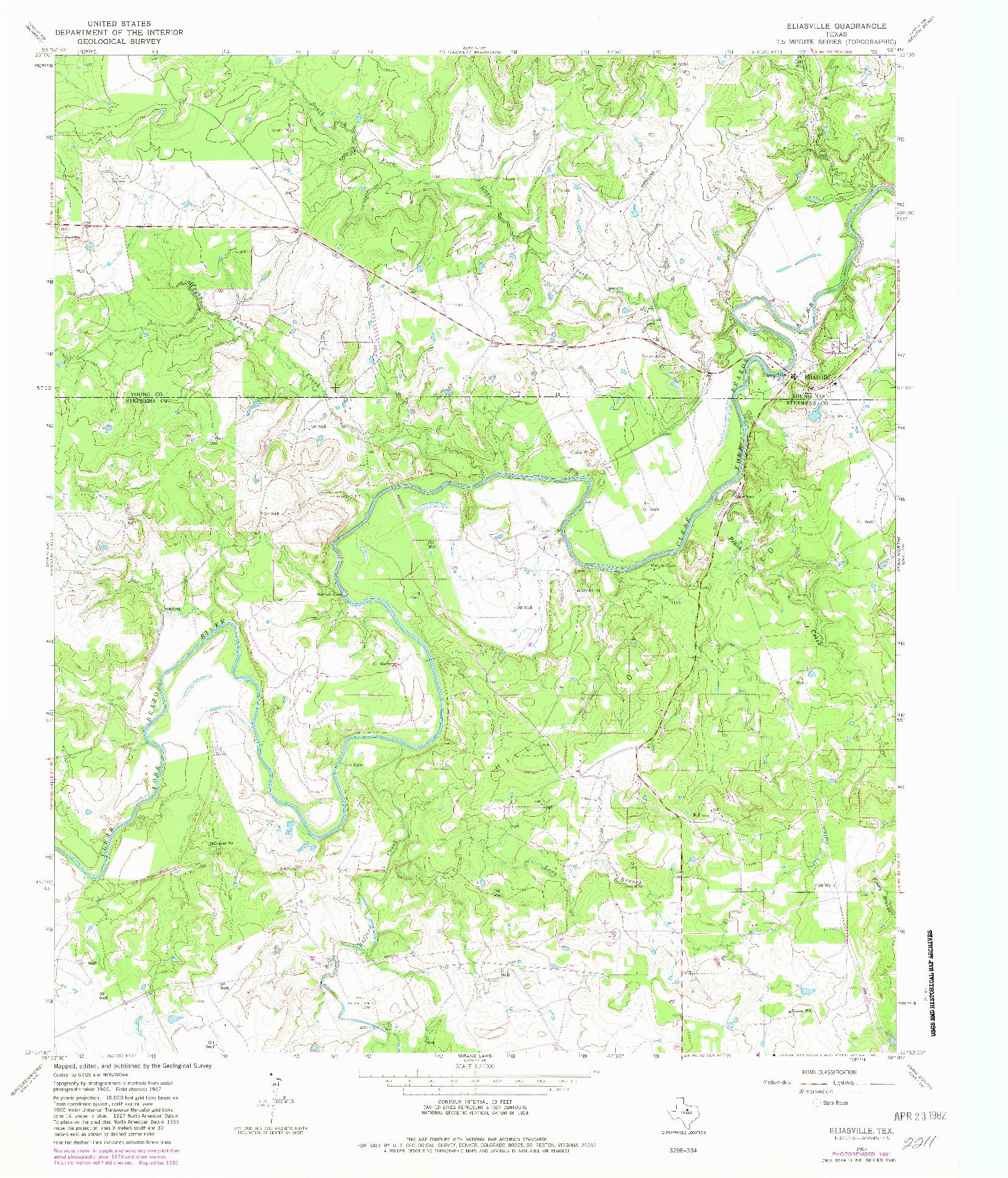 USGS 1:24000-SCALE QUADRANGLE FOR ELIASVILLE, TX 1967
