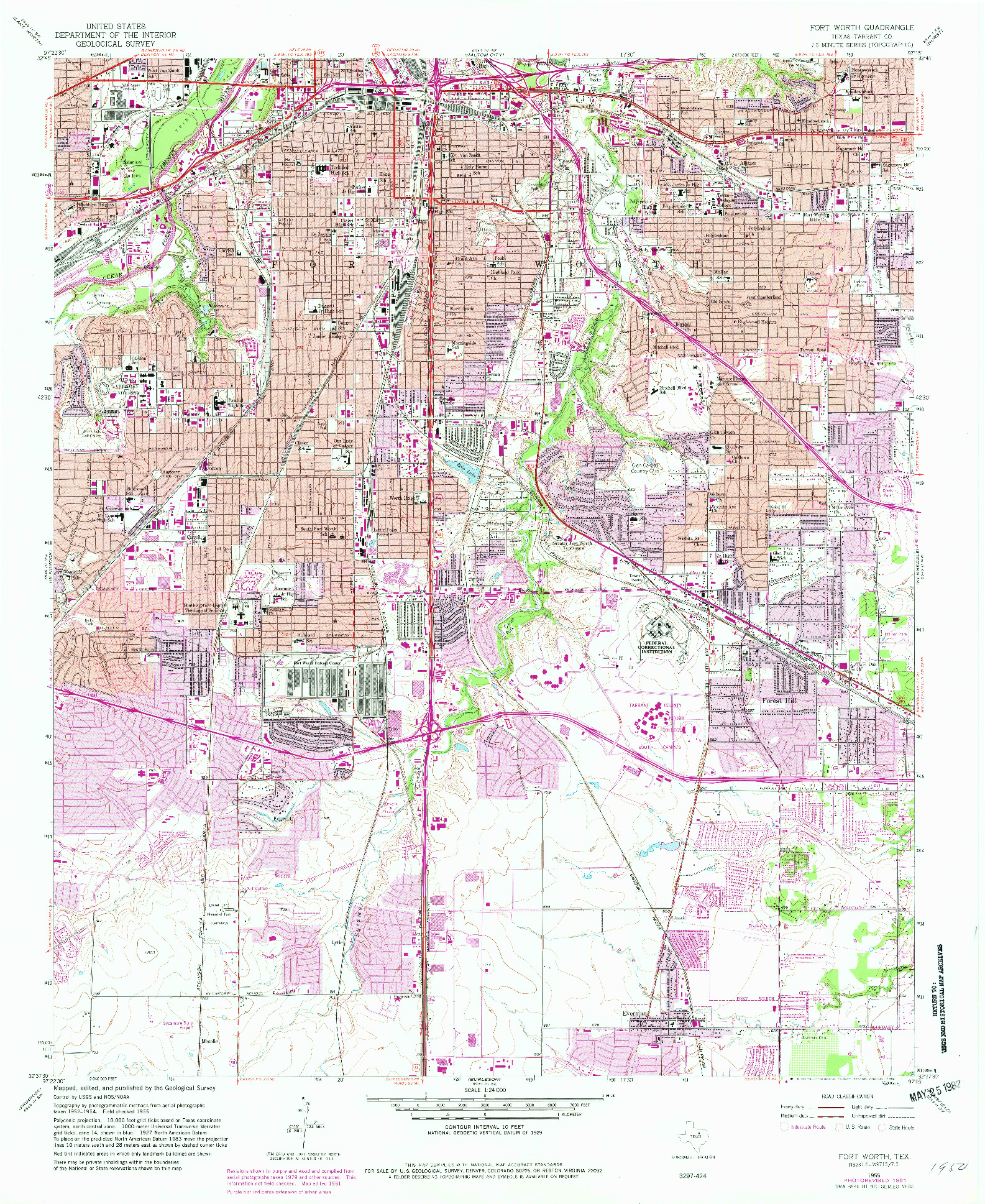USGS 1:24000-SCALE QUADRANGLE FOR FORT WORTH, TX 1955