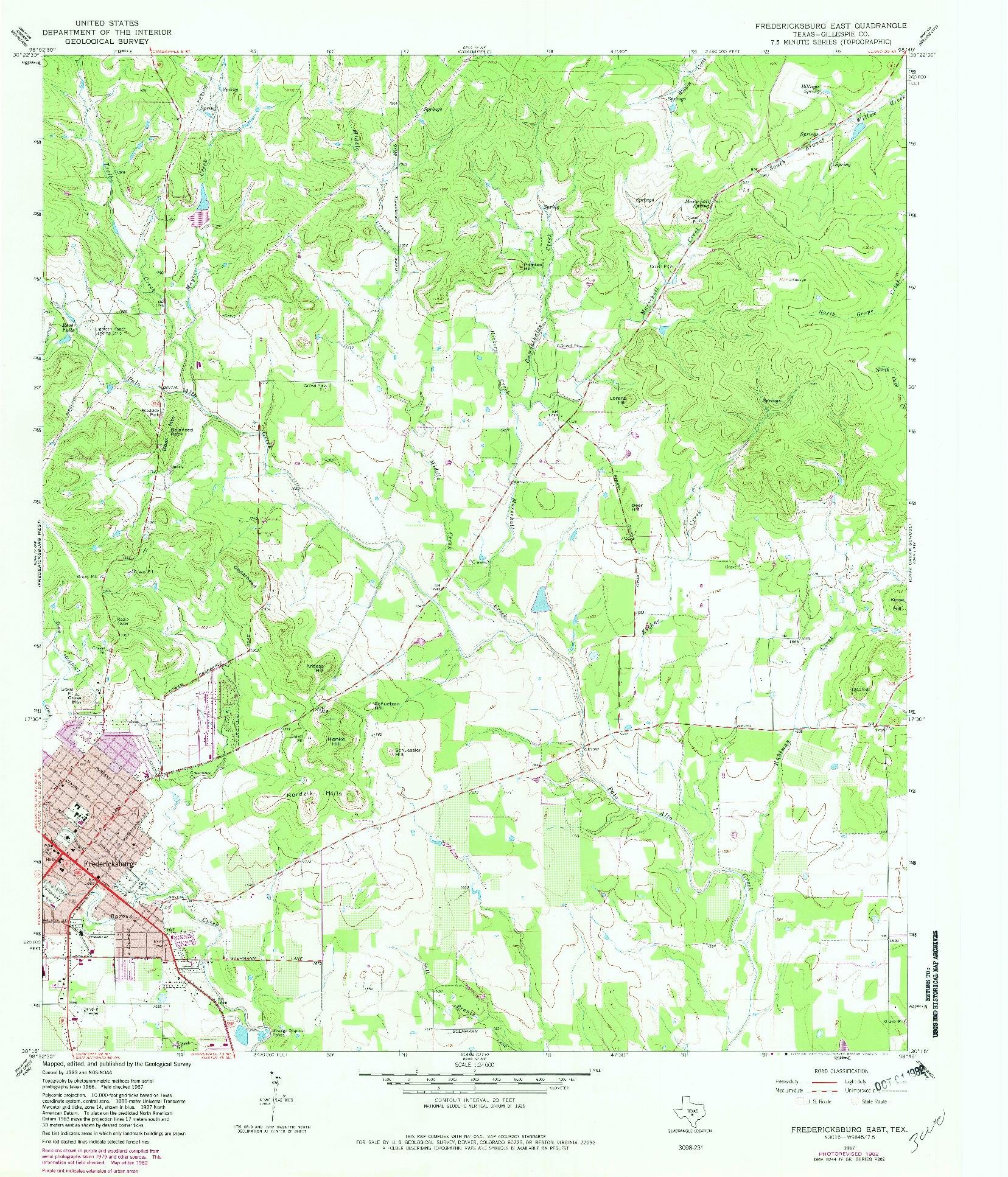 USGS 1:24000-SCALE QUADRANGLE FOR FREDERICKSBURG EAST, TX 1967