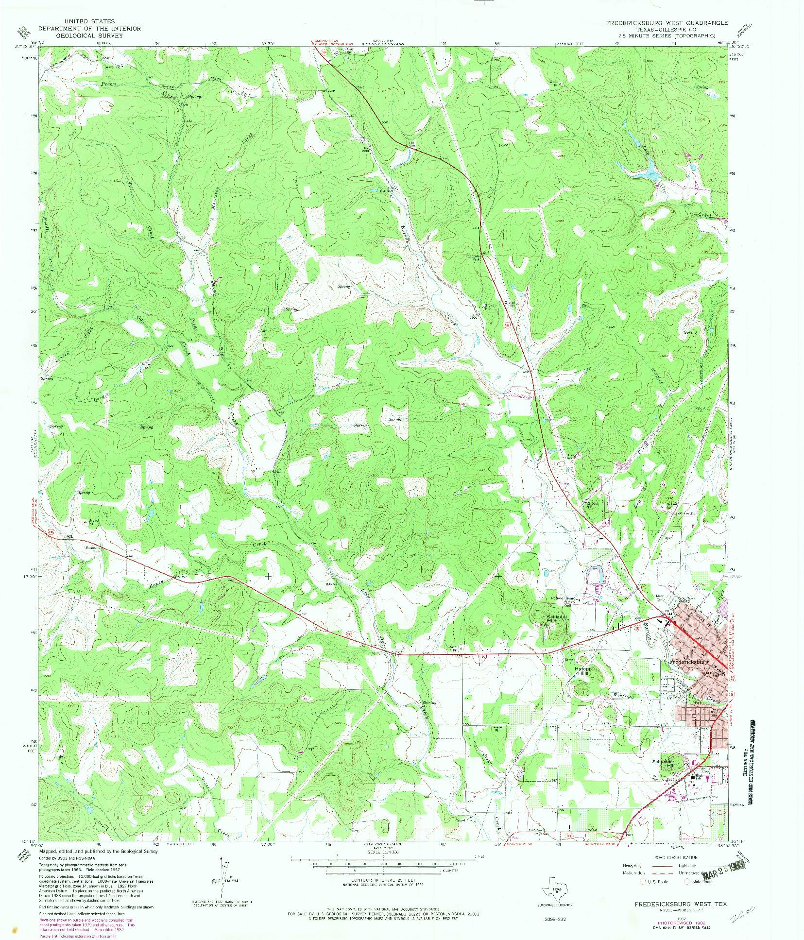USGS 1:24000-SCALE QUADRANGLE FOR FREDERICKSBURG WEST, TX 1967