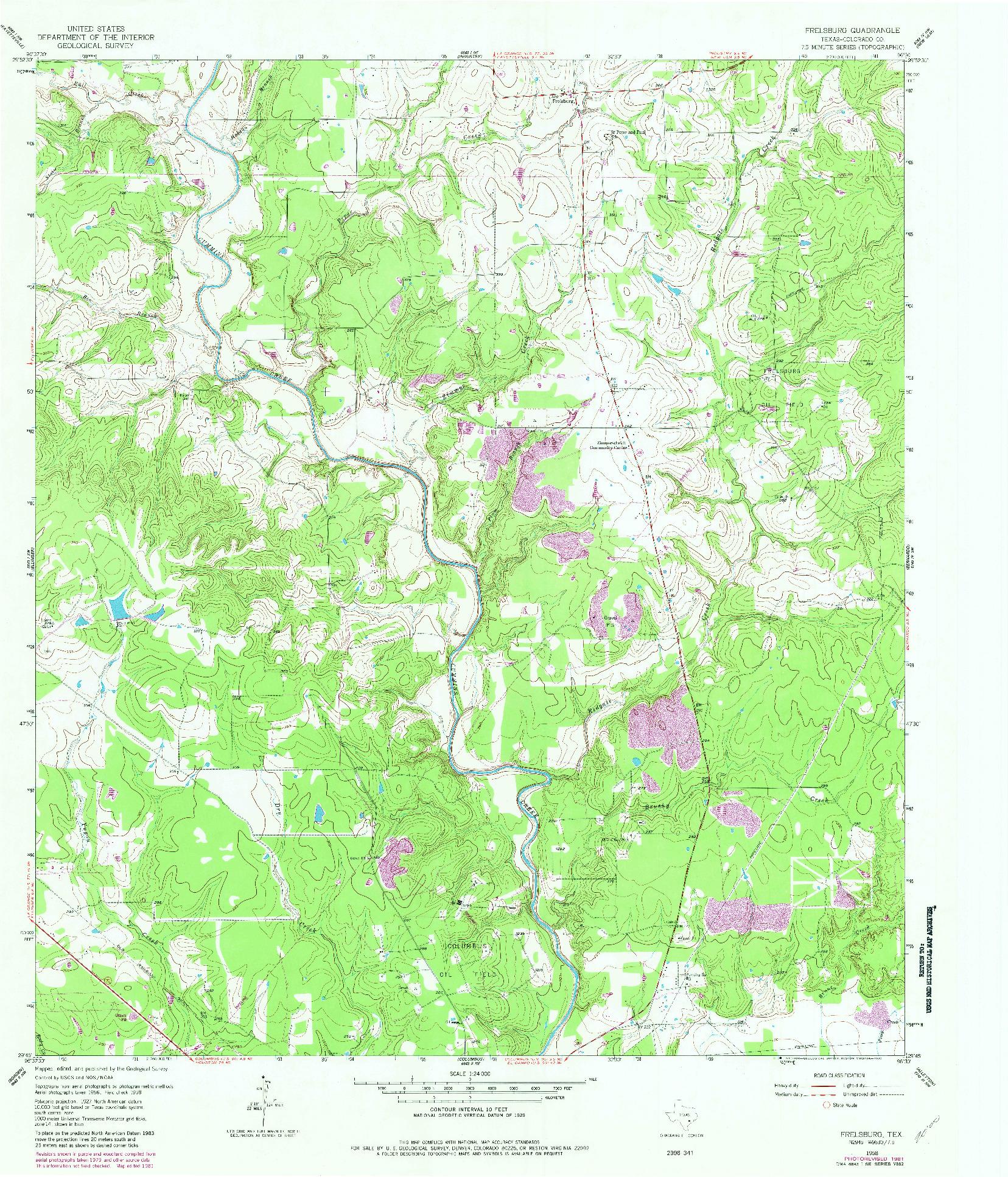 USGS 1:24000-SCALE QUADRANGLE FOR FRELSBURG, TX 1958