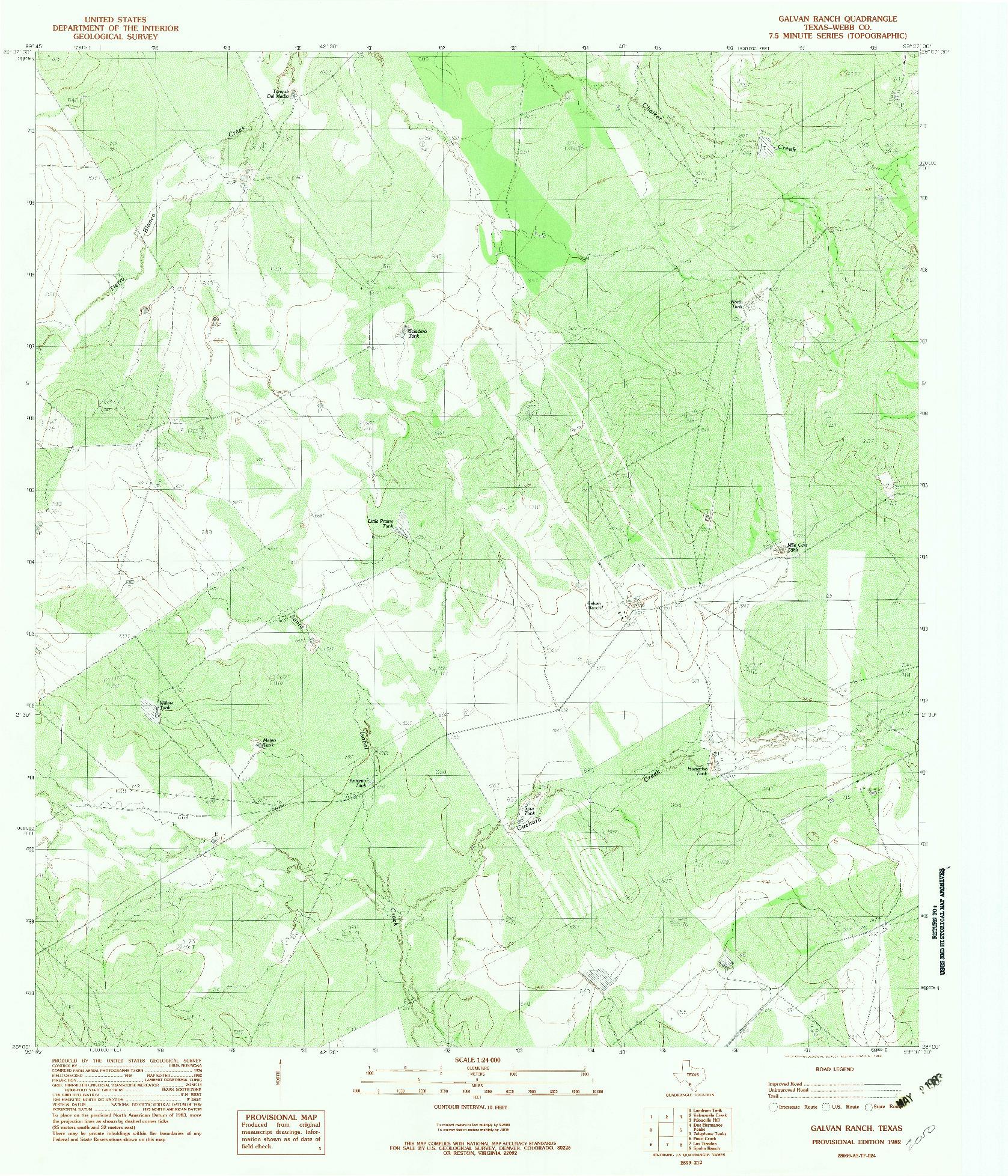 USGS 1:24000-SCALE QUADRANGLE FOR GALVAN RANCH, TX 1982
