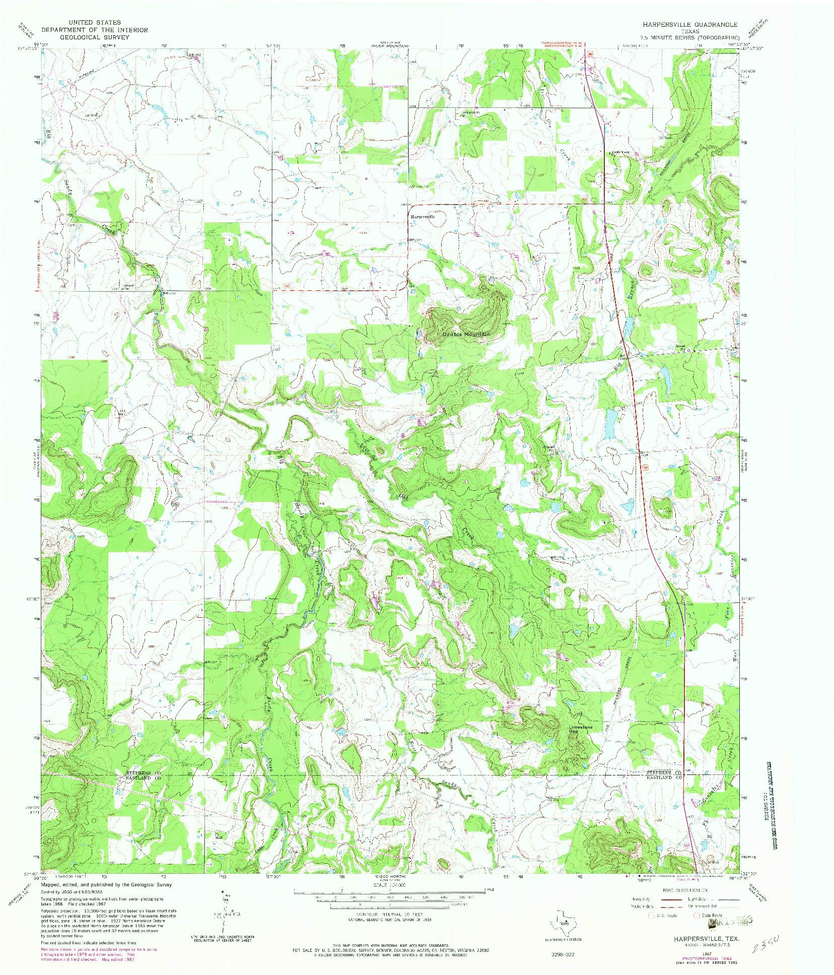 USGS 1:24000-SCALE QUADRANGLE FOR HARPERSVILLE, TX 1967