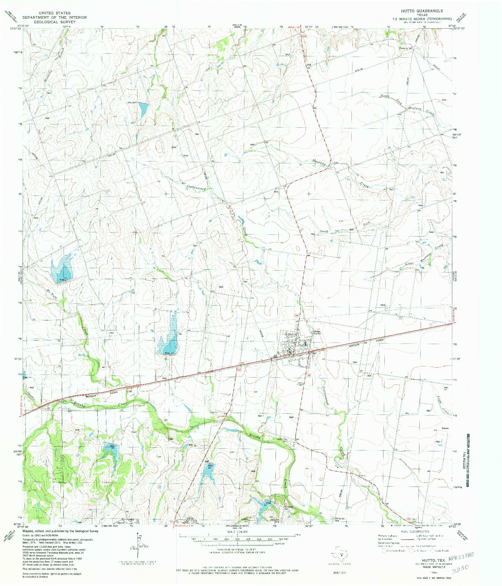 USGS 1:24000-SCALE QUADRANGLE FOR HUTTO, TX 1982
