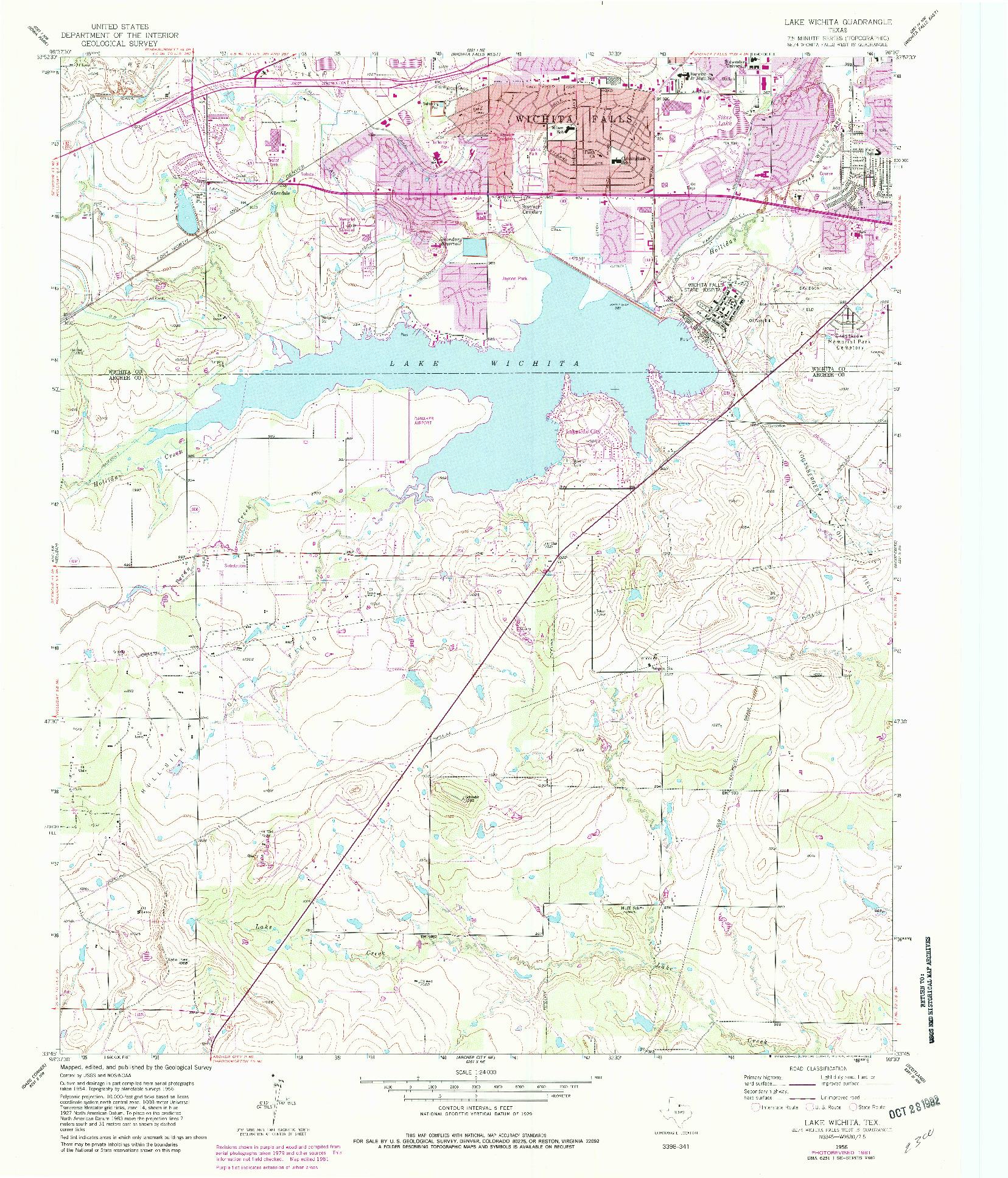 USGS 1:24000-SCALE QUADRANGLE FOR LAKE WICHITA, TX 1956