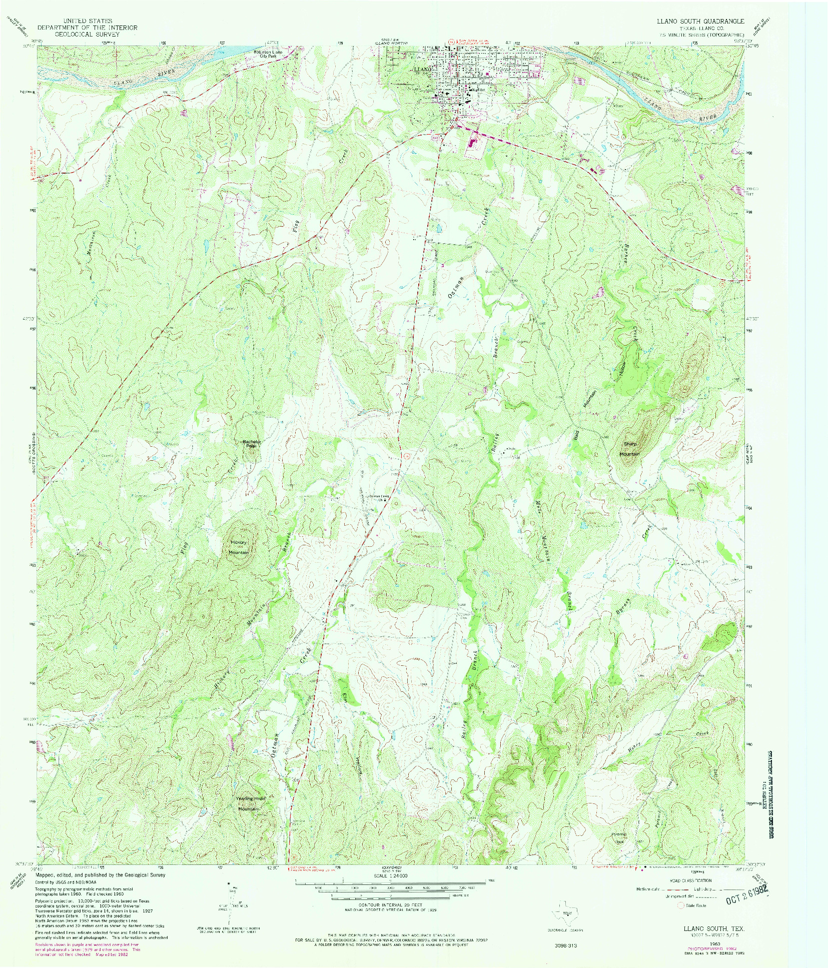 USGS 1:24000-SCALE QUADRANGLE FOR LLANO SOUTH, TX 1960