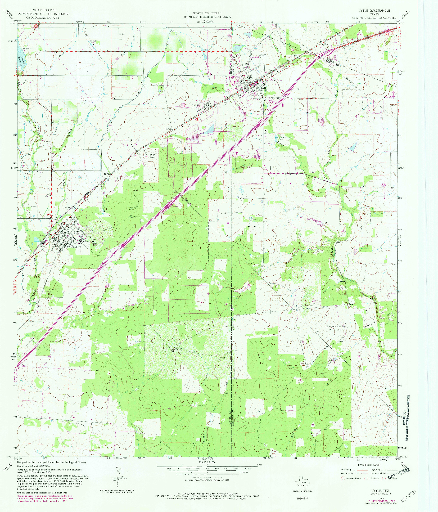 USGS 1:24000-SCALE QUADRANGLE FOR LYTLE, TX 1964